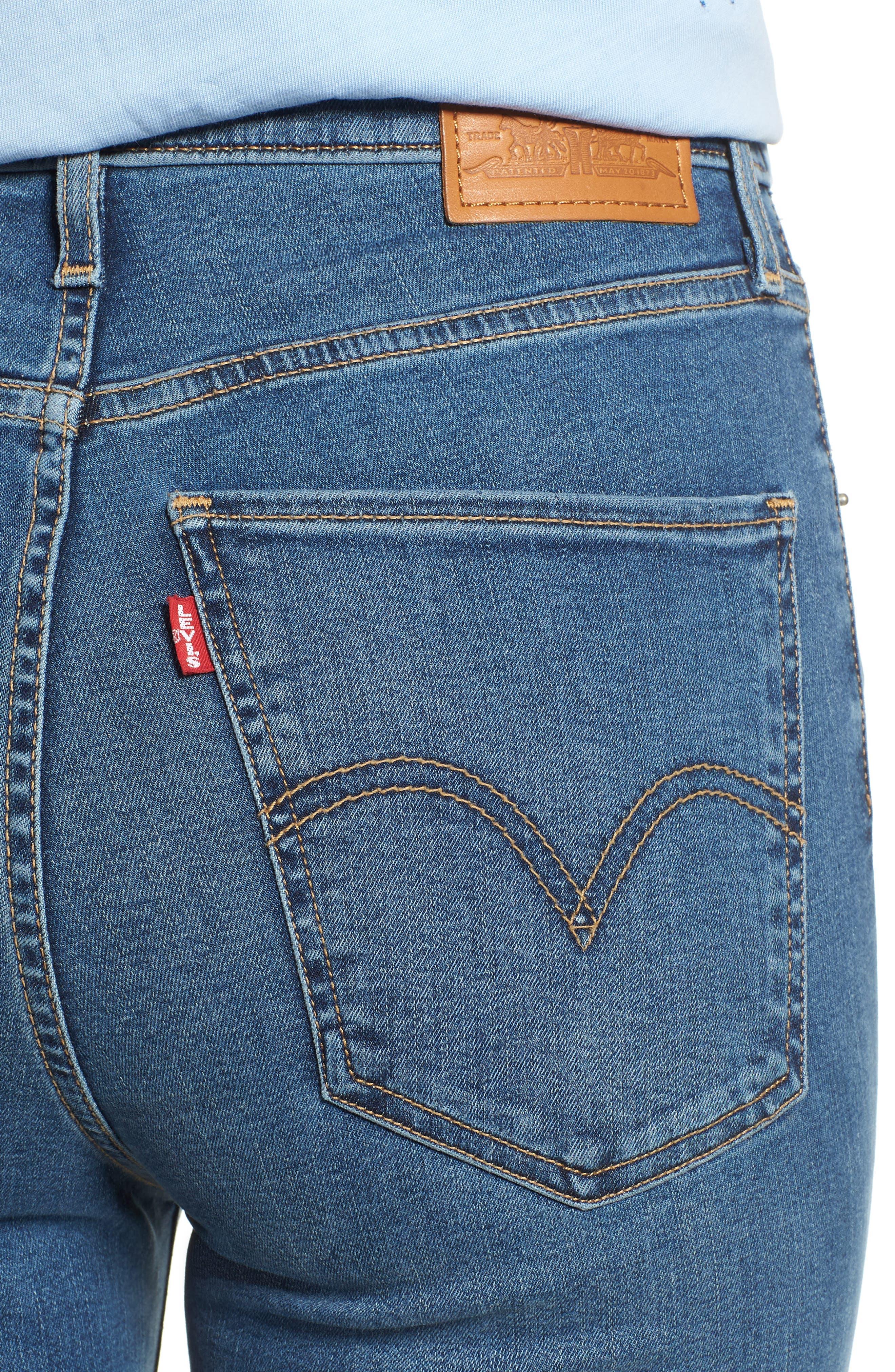 Mile High Super Skinny Jeans,                             Alternate thumbnail 4, color,                             MED BLUE 1