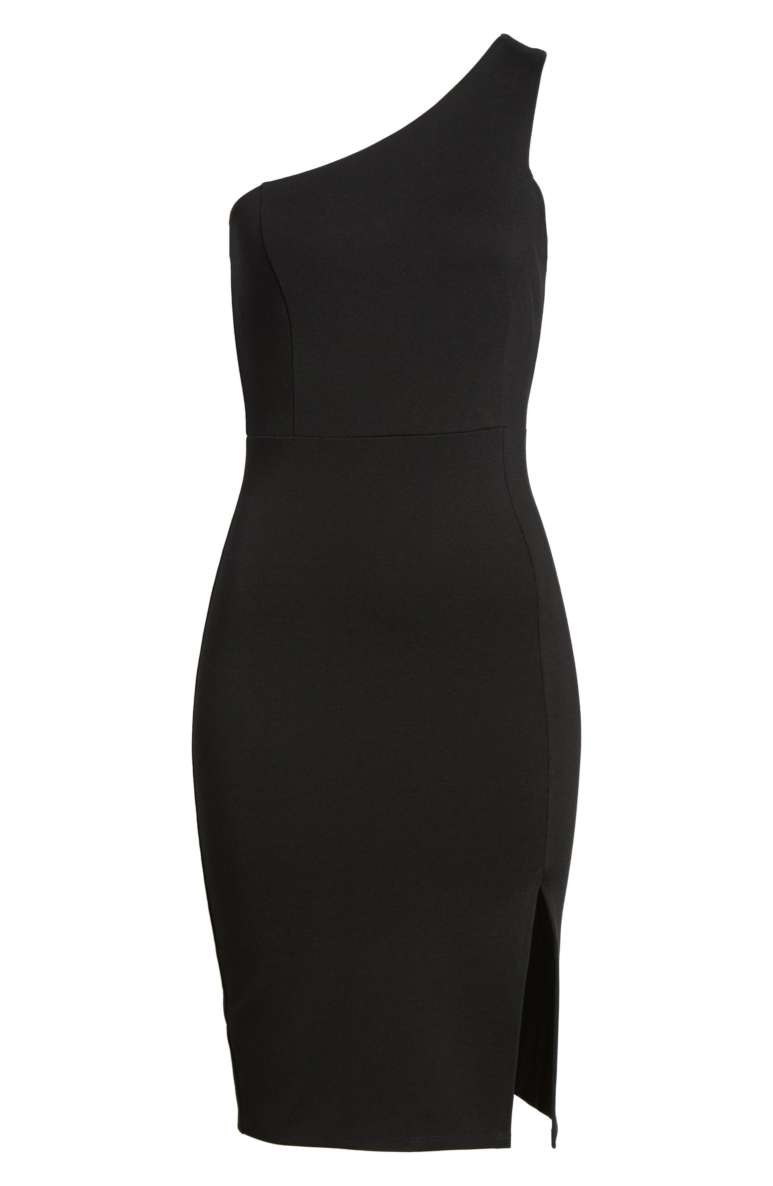 One-Shoulder Body-Con Dress,                             Alternate thumbnail 16, color,