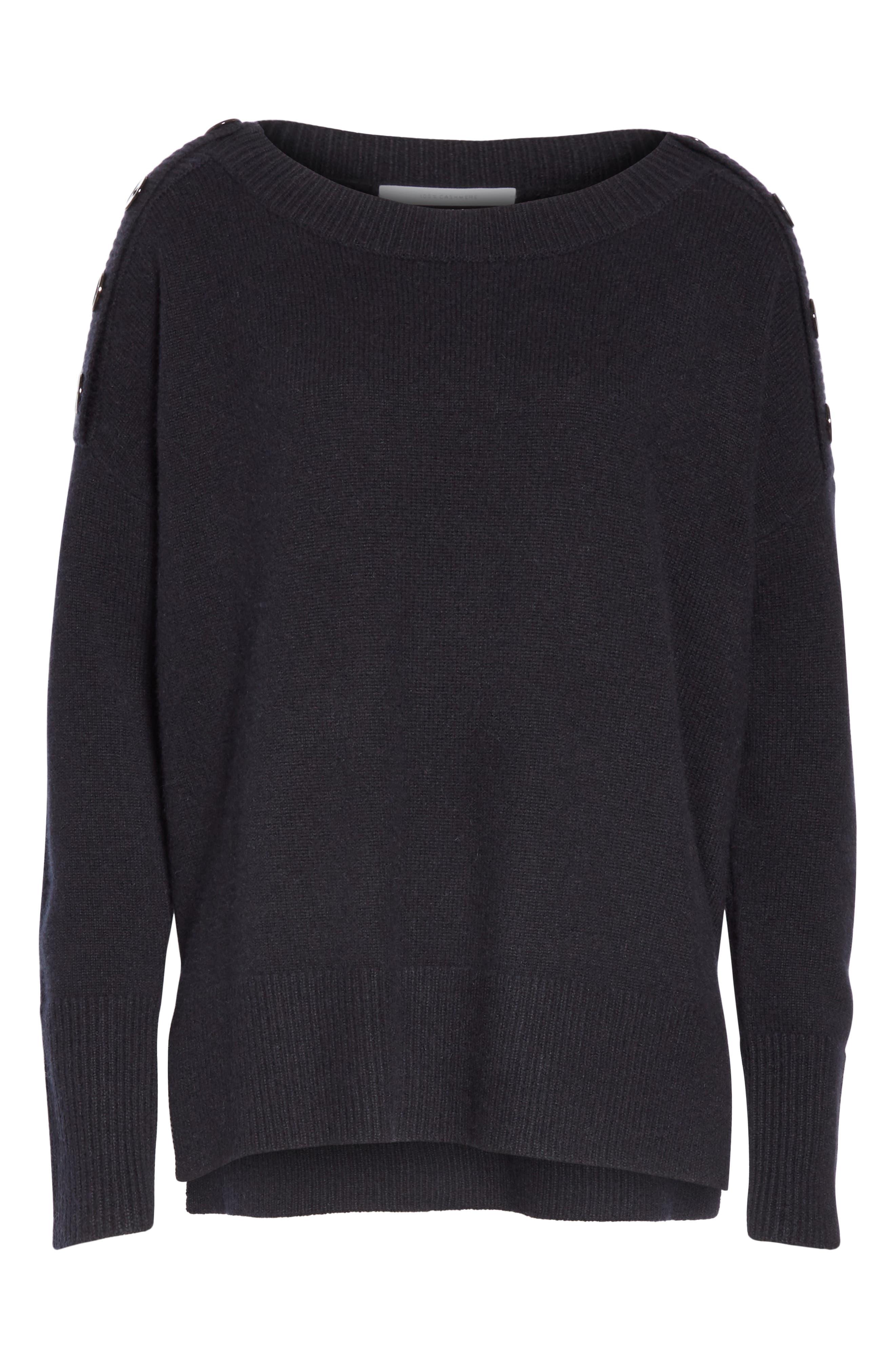 Button Shoulder Cashmere Sweater,                             Alternate thumbnail 6, color,                             BLACK