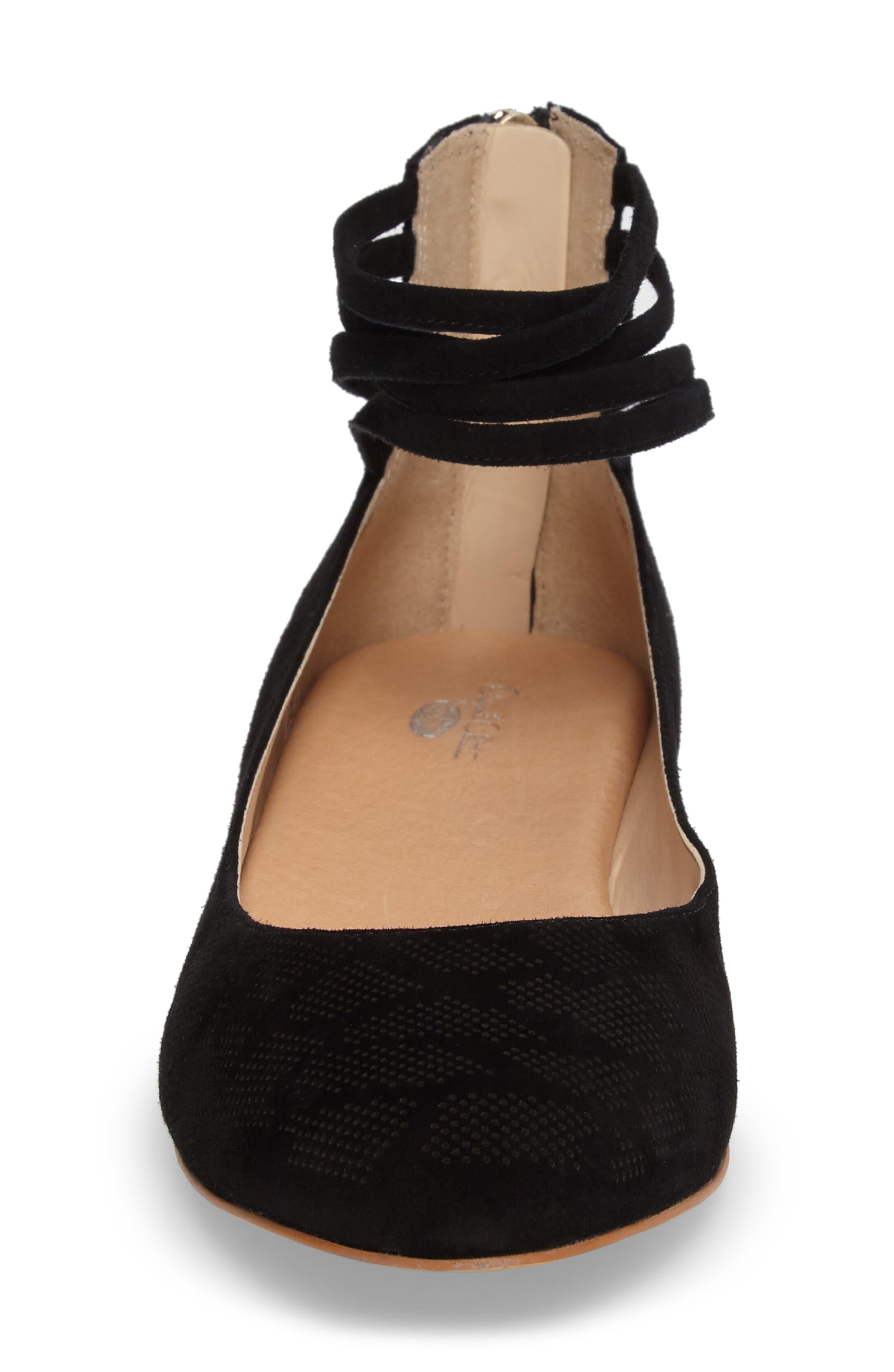 Vonne Ankle Wrap Ballet Flat,                             Alternate thumbnail 4, color,                             001