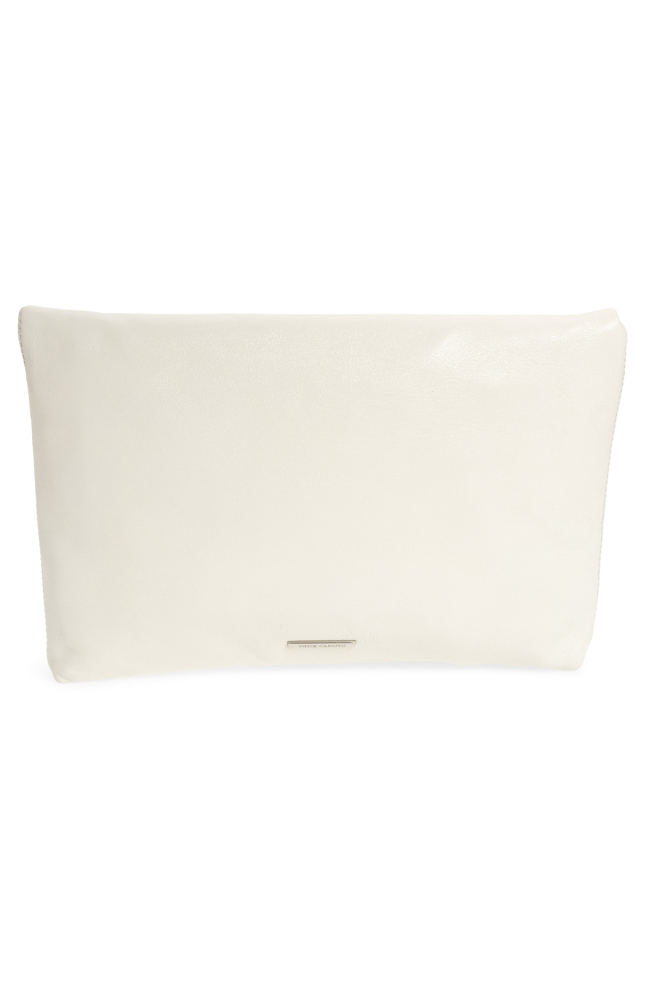Large Marti Leather Convertible Clutch,                             Alternate thumbnail 4, color,                             SNOW WHITE