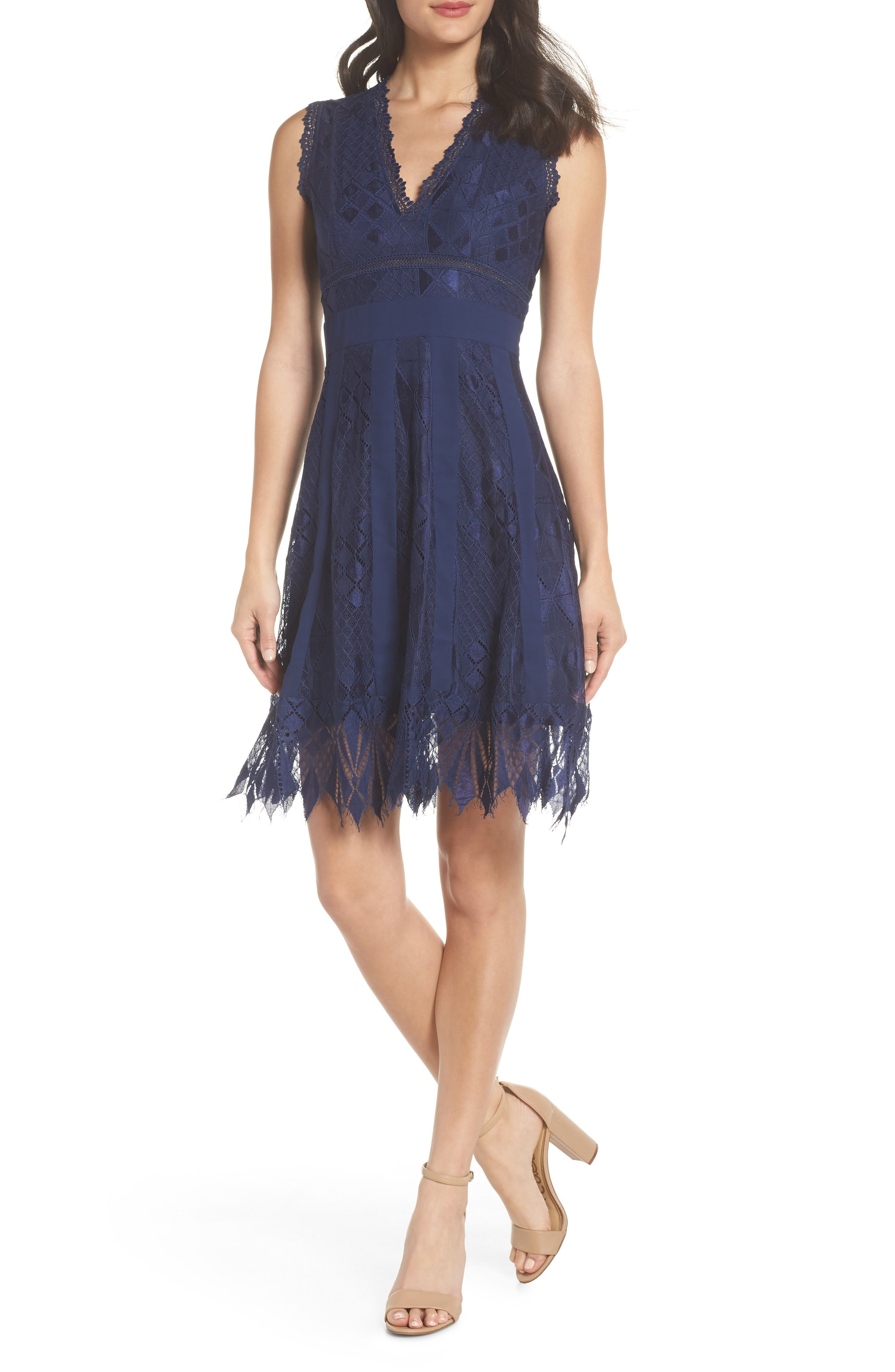 Juliet Sleeveless Lace Dress,                             Main thumbnail 1, color,                             NAVY