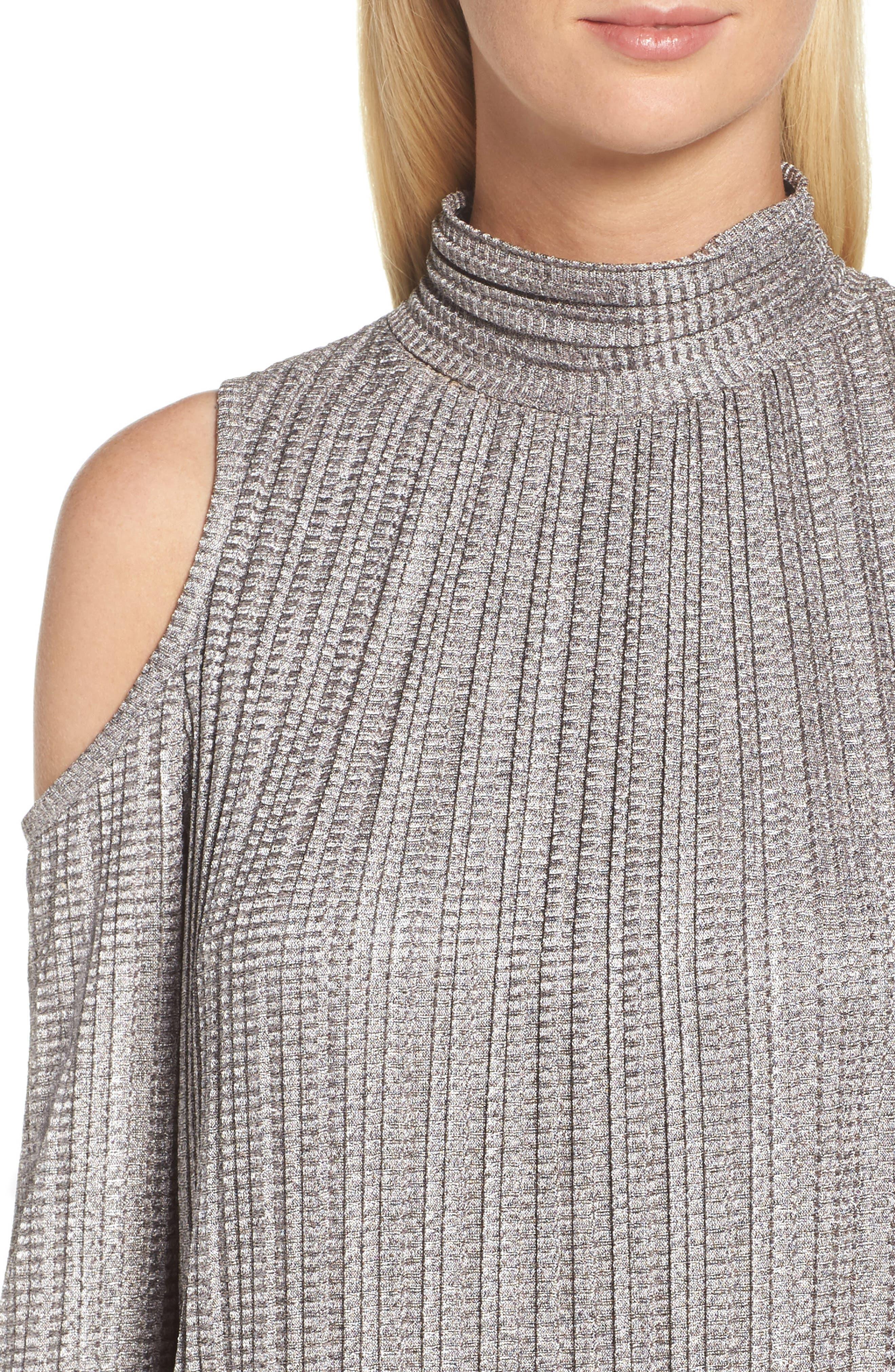 Cold Shoulder Pleated Shift Dress,                             Alternate thumbnail 4, color,                             685