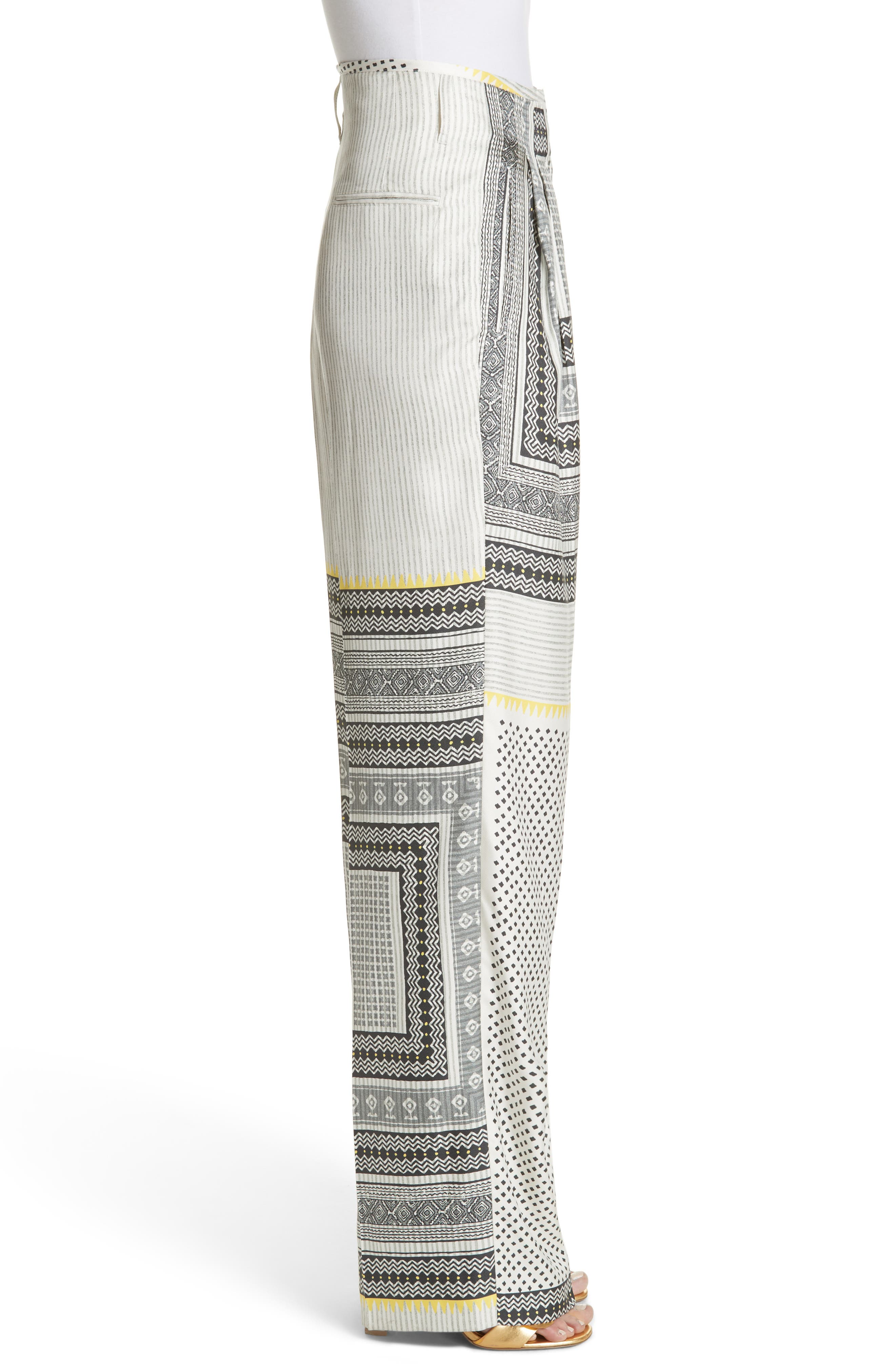 High Waist Silk Twill Pants,                             Alternate thumbnail 3, color,                             100