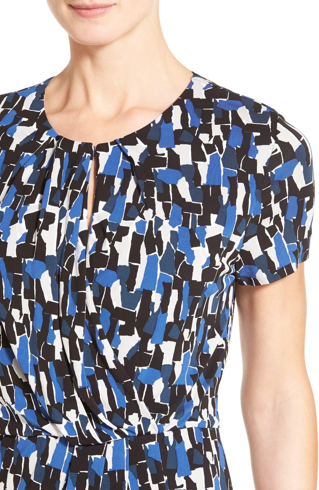'Enedita' Mosaic Print Faux Wrap Jersey Dress,                             Alternate thumbnail 4, color,                             477