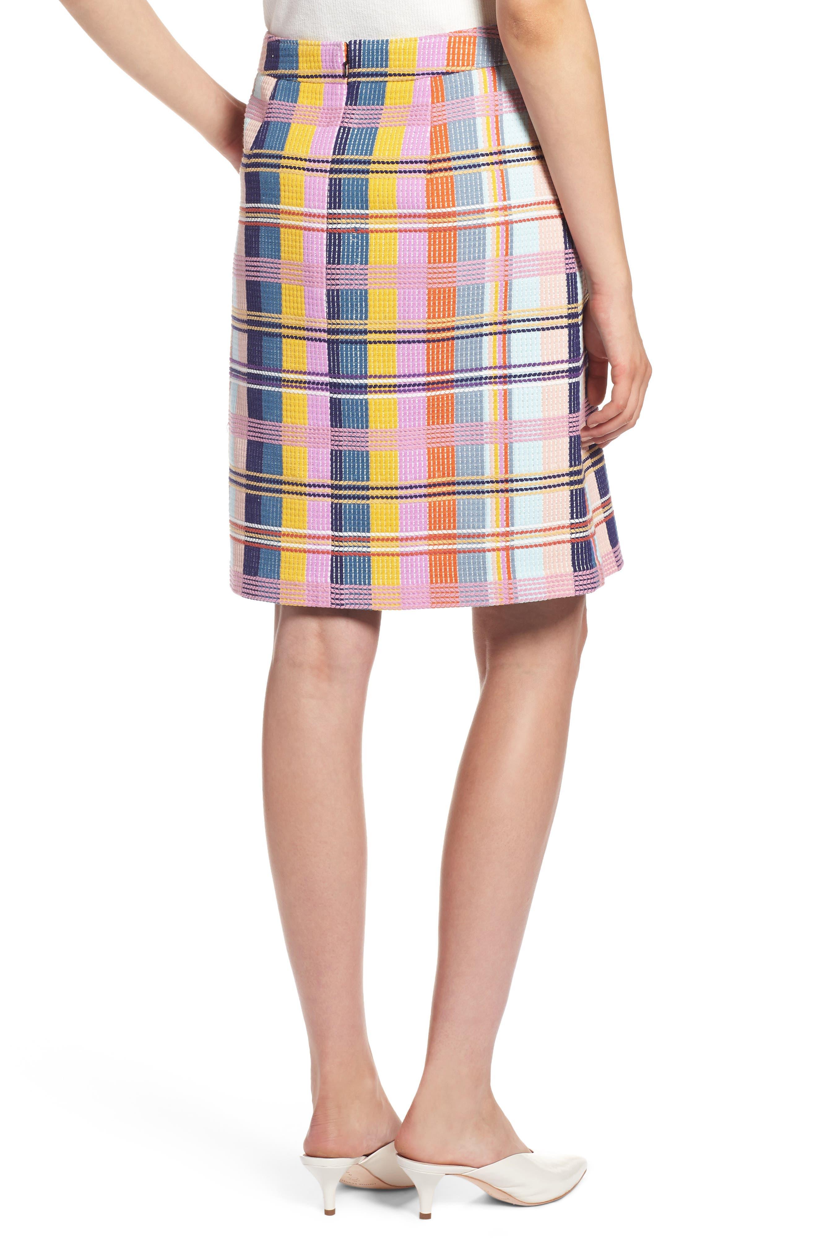 Plaid Tweed Pencil Skirt,                             Alternate thumbnail 2, color,                             BLUE MULTI TWEED