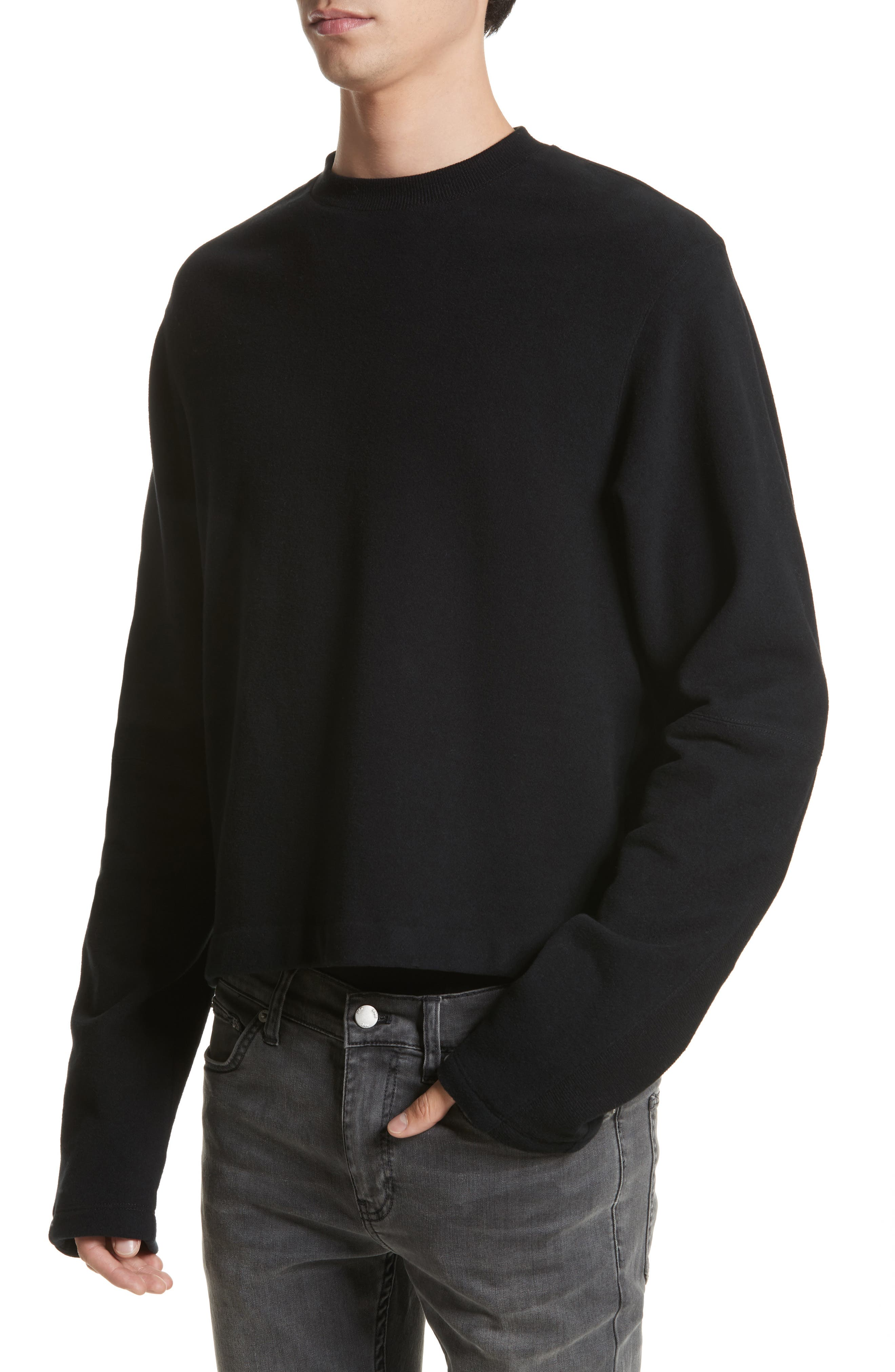 Rib Detail Crewneck Sweater,                             Alternate thumbnail 4, color,                             001