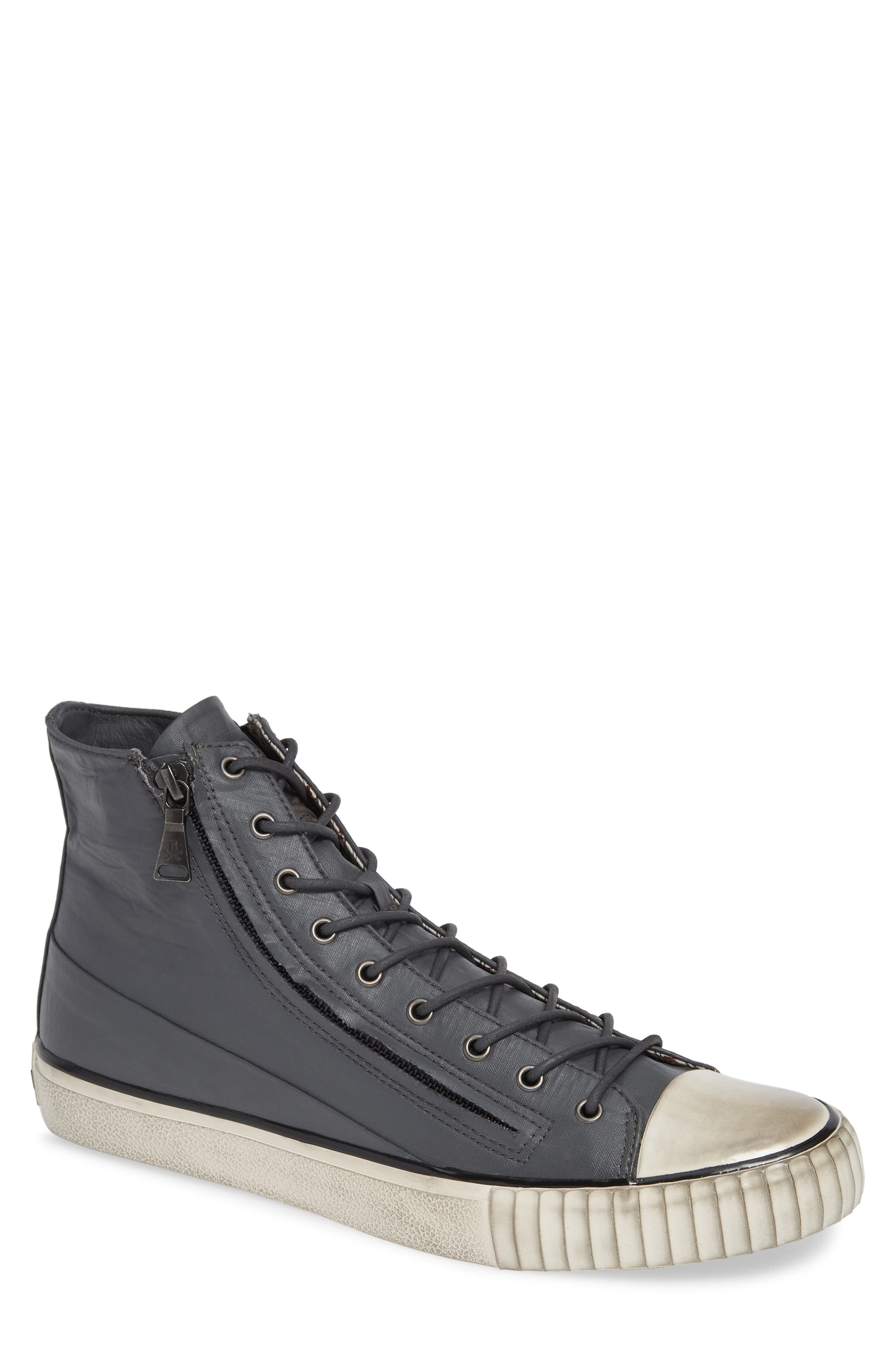 John Varvatos Star USA Bootleg Sneaker,                         Main,                         color, GREY COATED LINEN