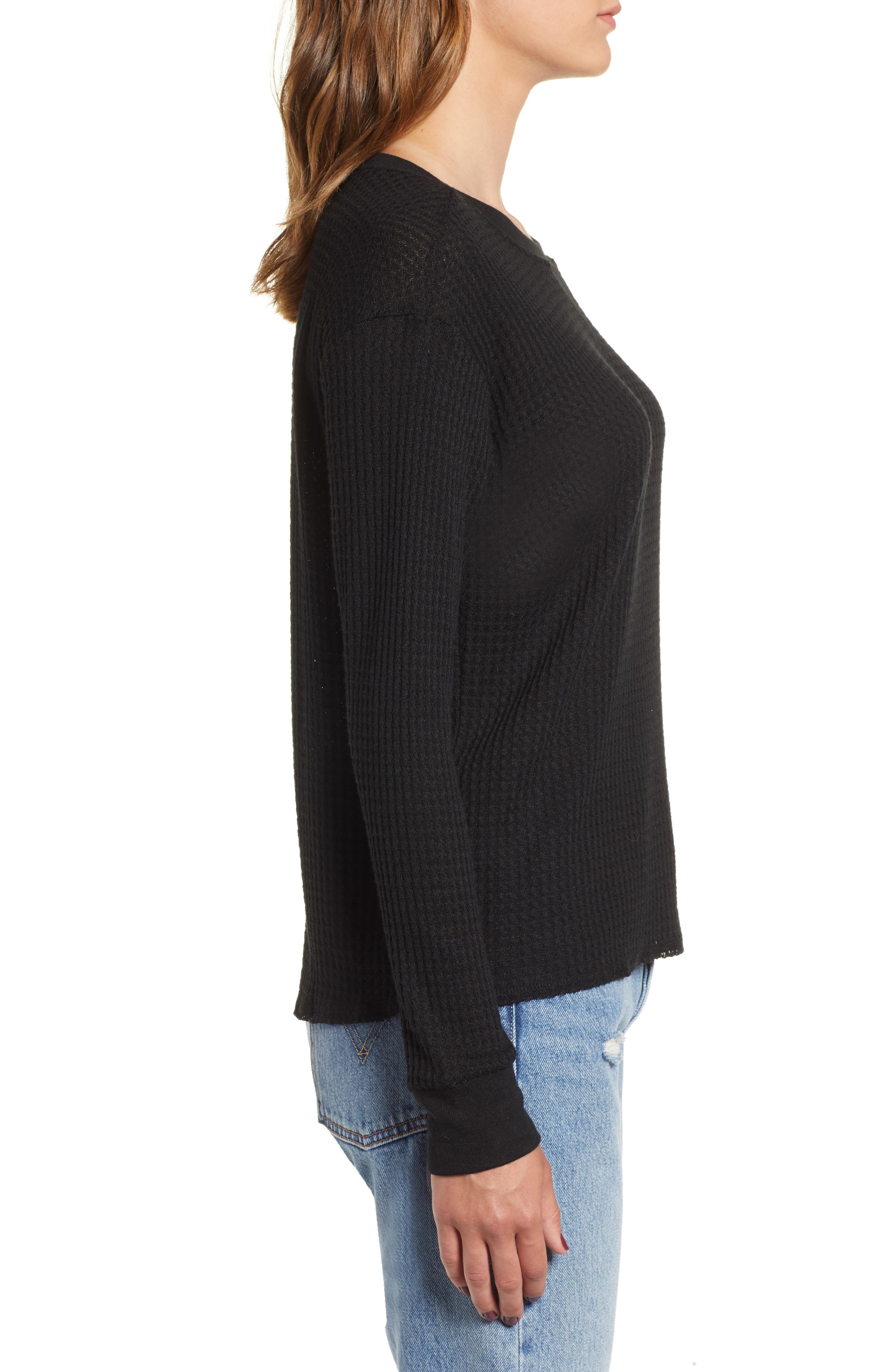 Cited Waffle Knit Pullover Top,                             Alternate thumbnail 3, color,                             001