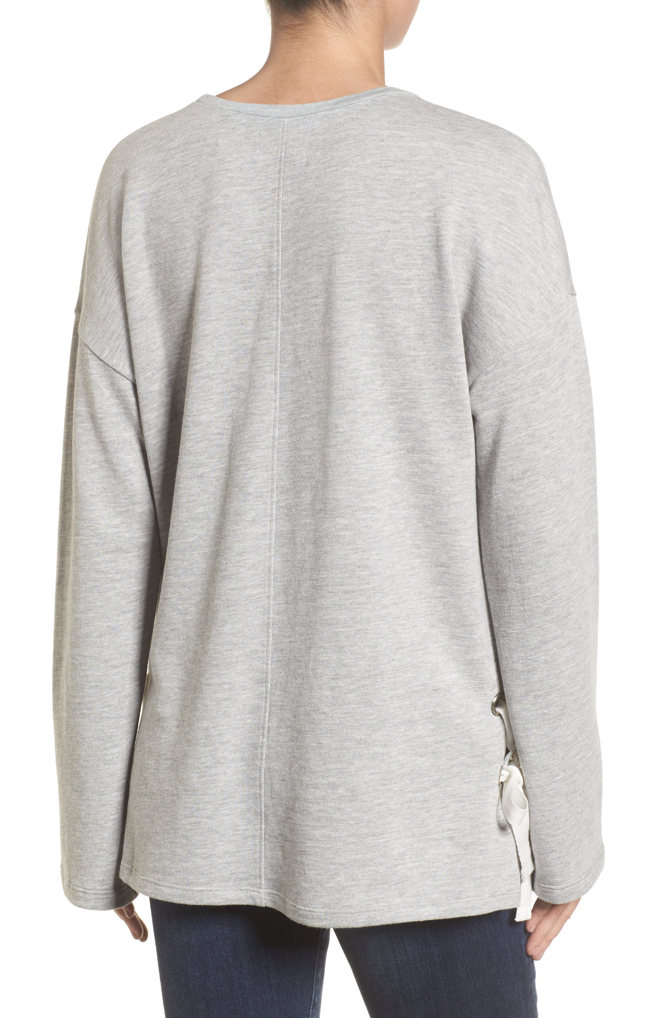 Lace-Up Side Sweatshirt,                             Alternate thumbnail 2, color,                             030
