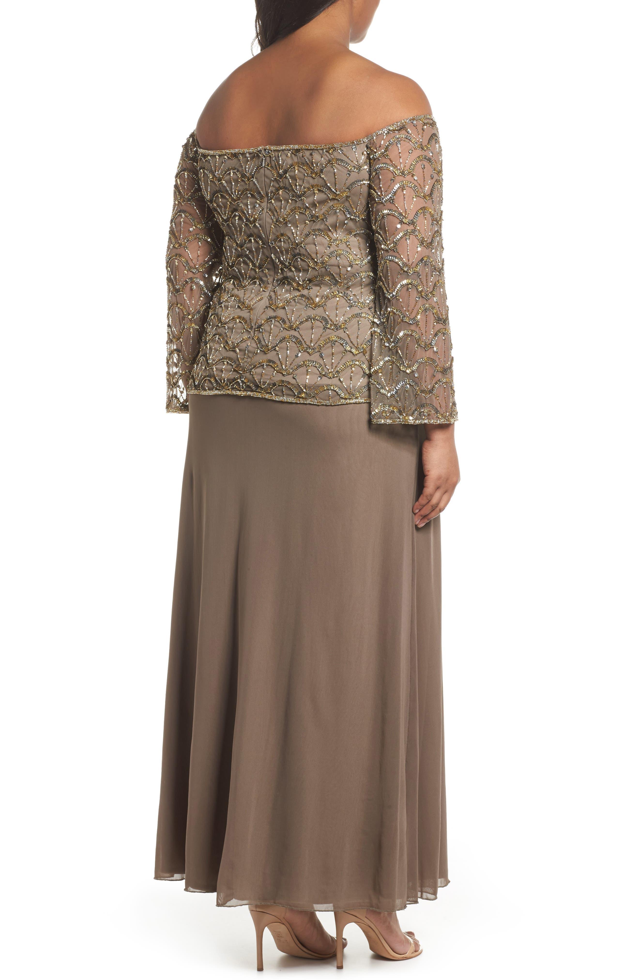 Embellished Off the Shoulder Gown,                             Alternate thumbnail 2, color,                             200