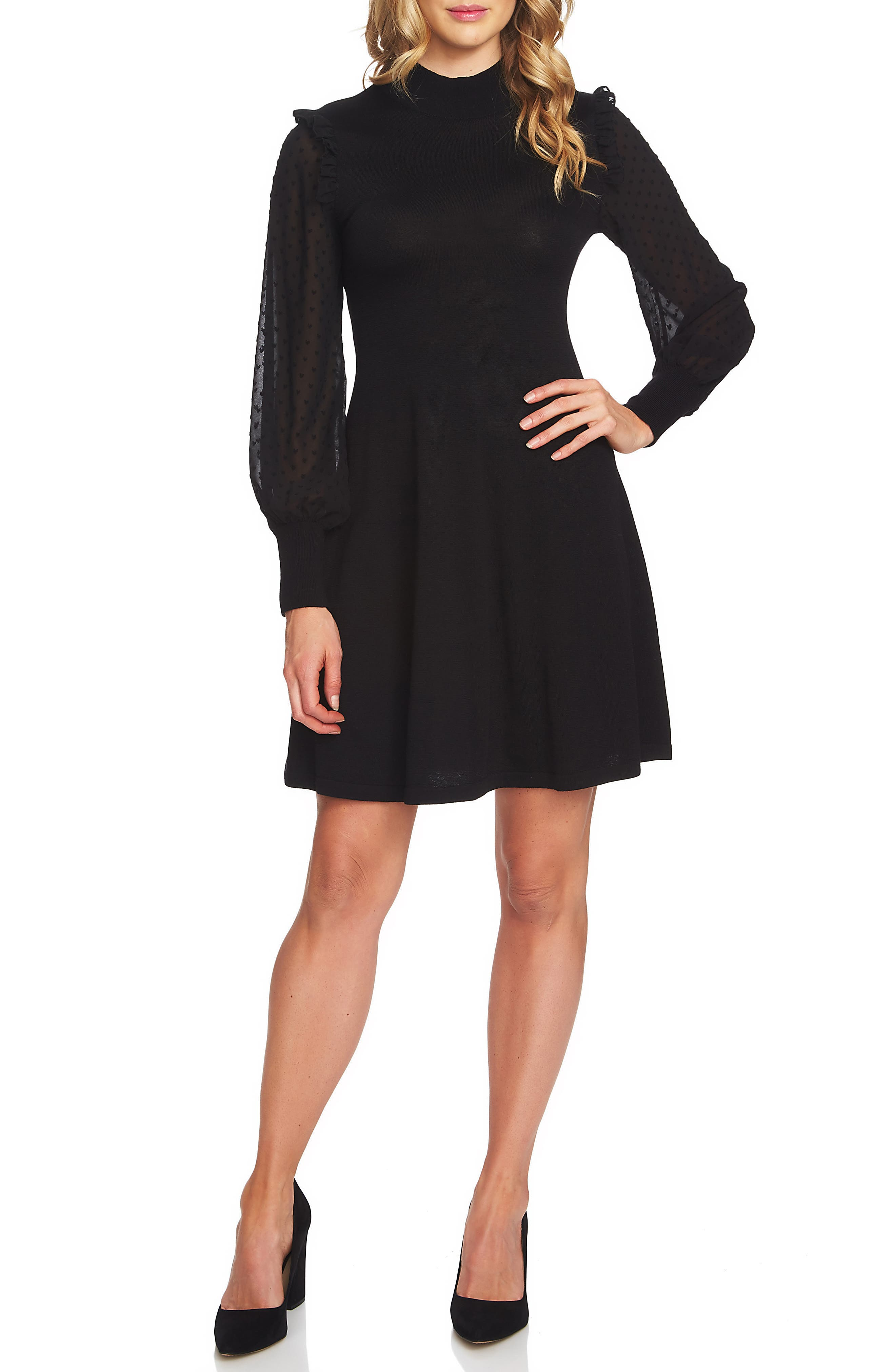 Swiss Dot Sleeve Fit & Flare Knit Dress,                             Main thumbnail 1, color,                             001