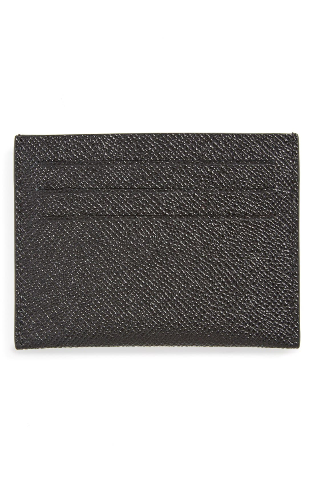 Textured Leather Card Case,                             Alternate thumbnail 2, color,                             BLACK
