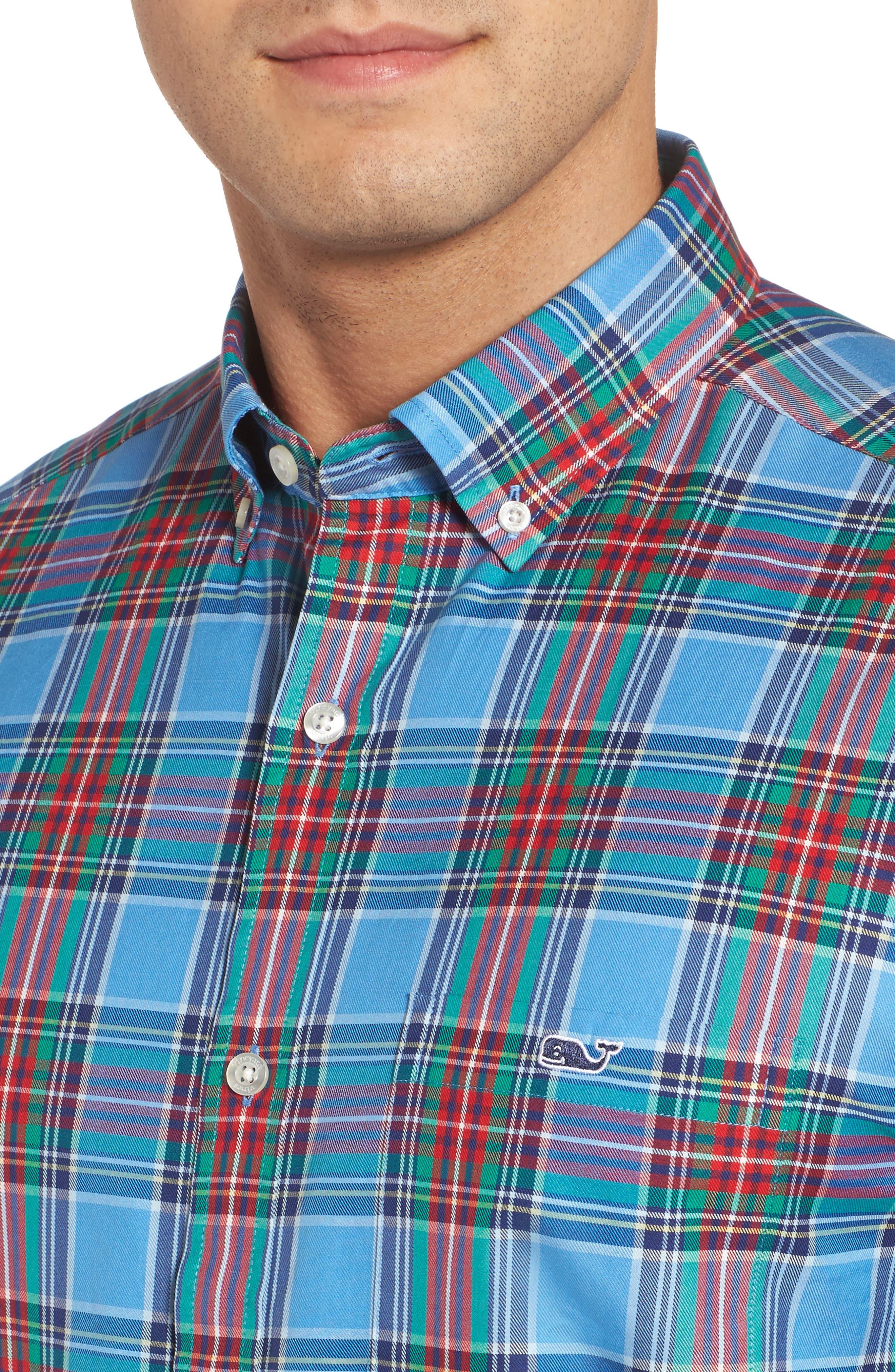 Tucker Belmont Classic Fit Plaid Sport Shirt,                             Alternate thumbnail 4, color,                             447