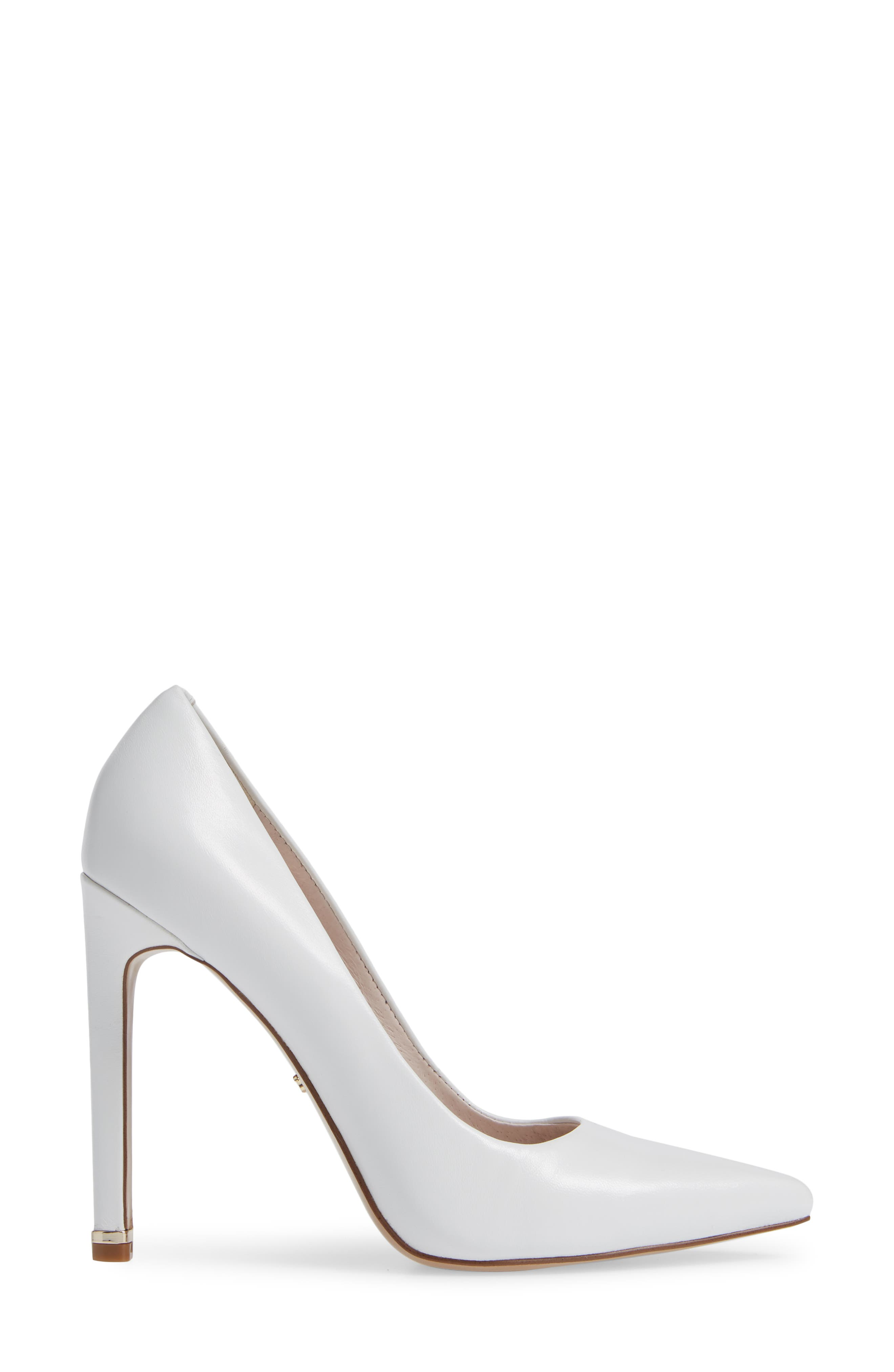 Riley 110 Pointy Toe Pump,                             Alternate thumbnail 3, color,                             WHITE LEATHER