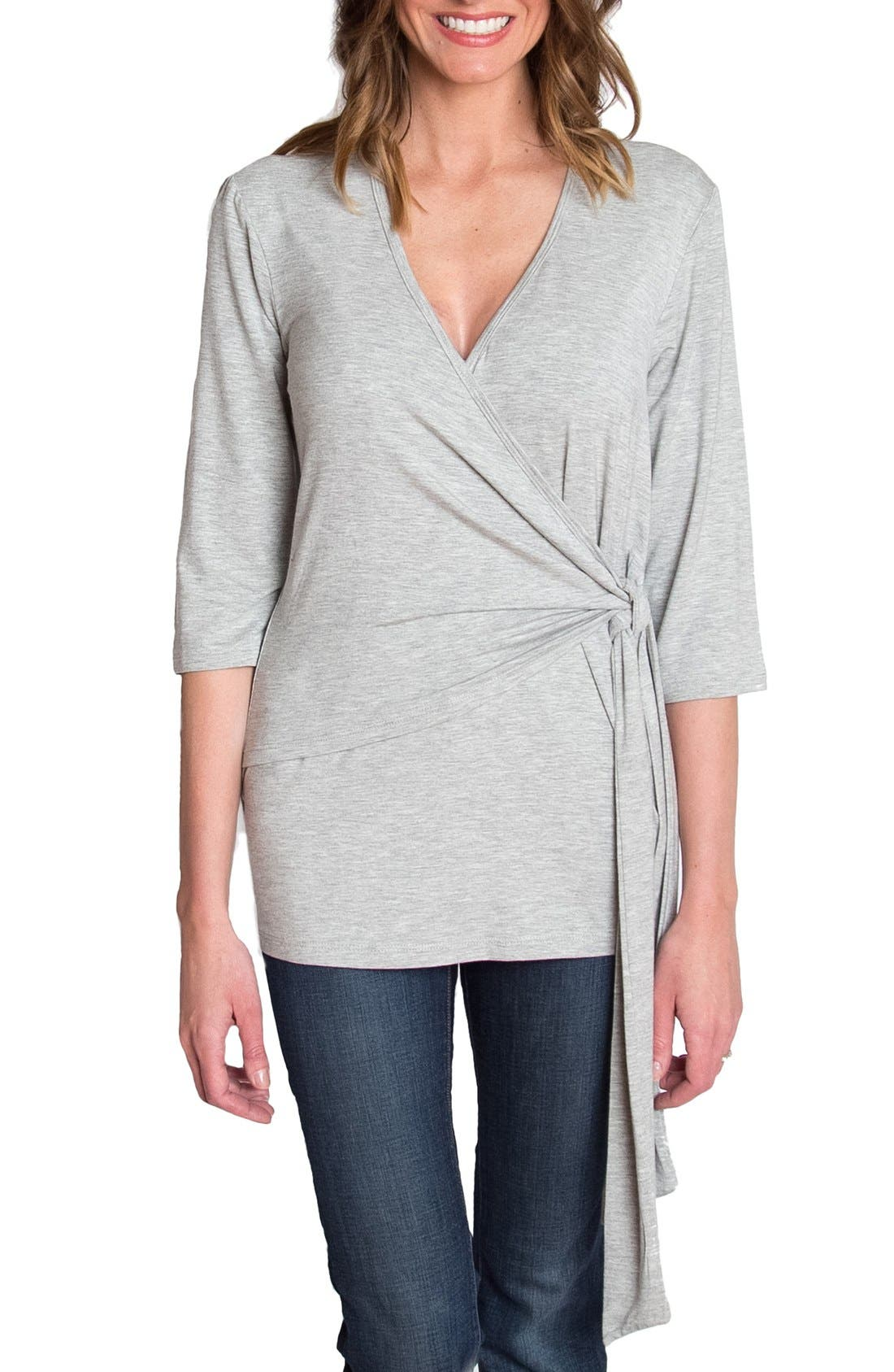 Whimsical Nursing Wrap Top,                             Main thumbnail 1, color,                             HEATHER GRAY