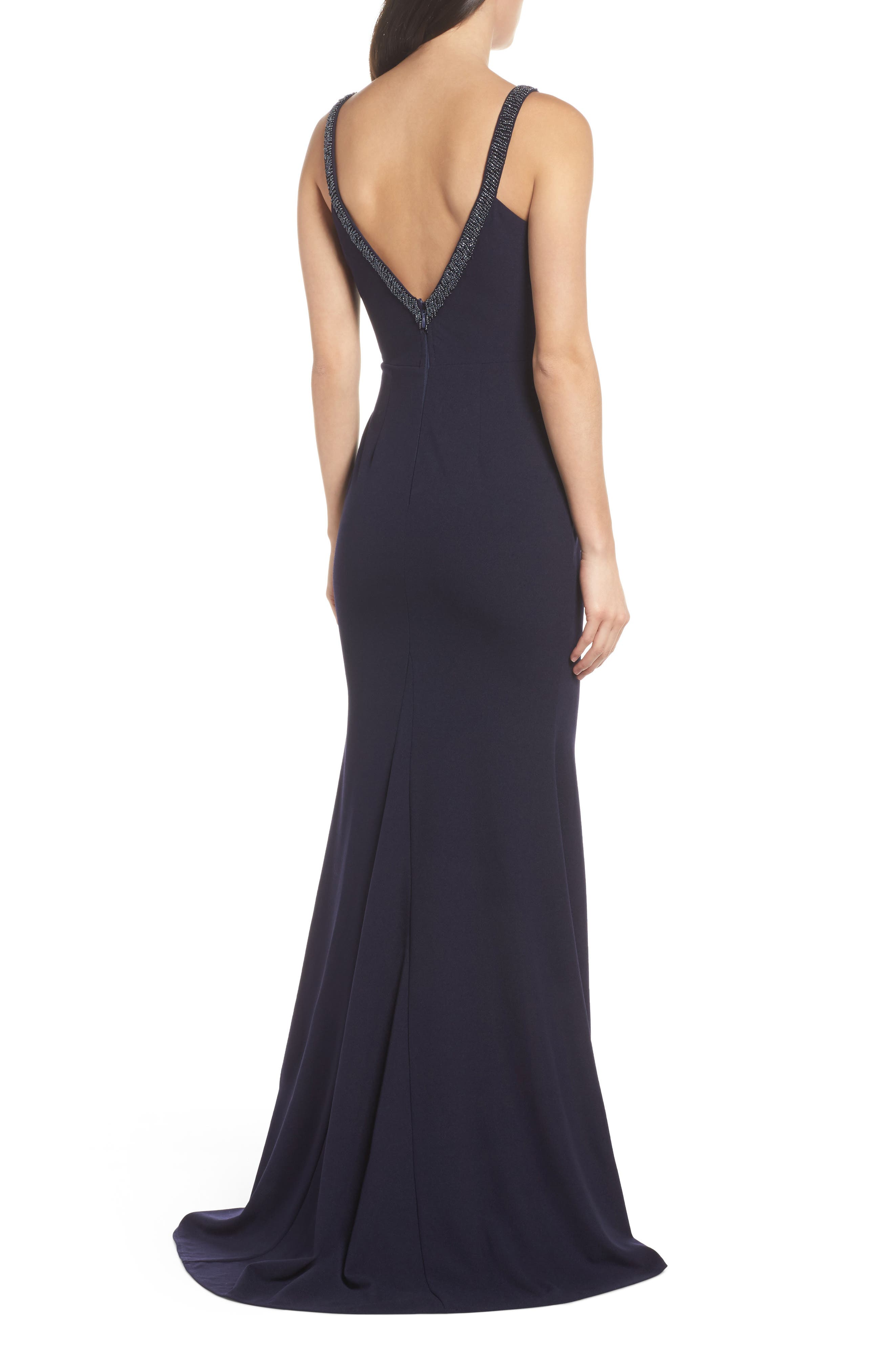 Embellished Strap Trumpet Gown,                             Alternate thumbnail 2, color,                             NAVY