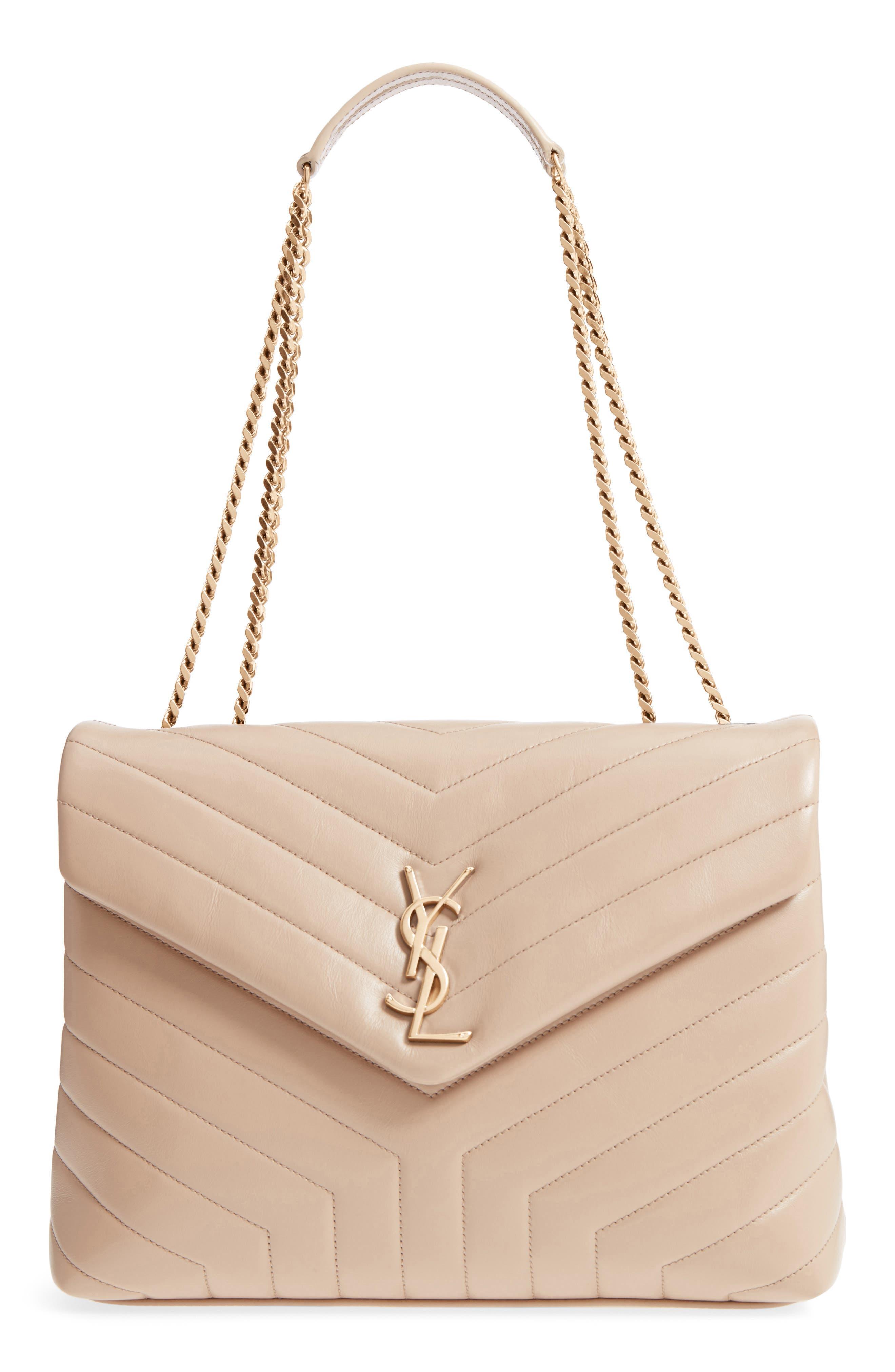 Medium Loulou Matelassé Calfskin Leather Shoulder Bag,                         Main,                         color, LIGHT NATURAL