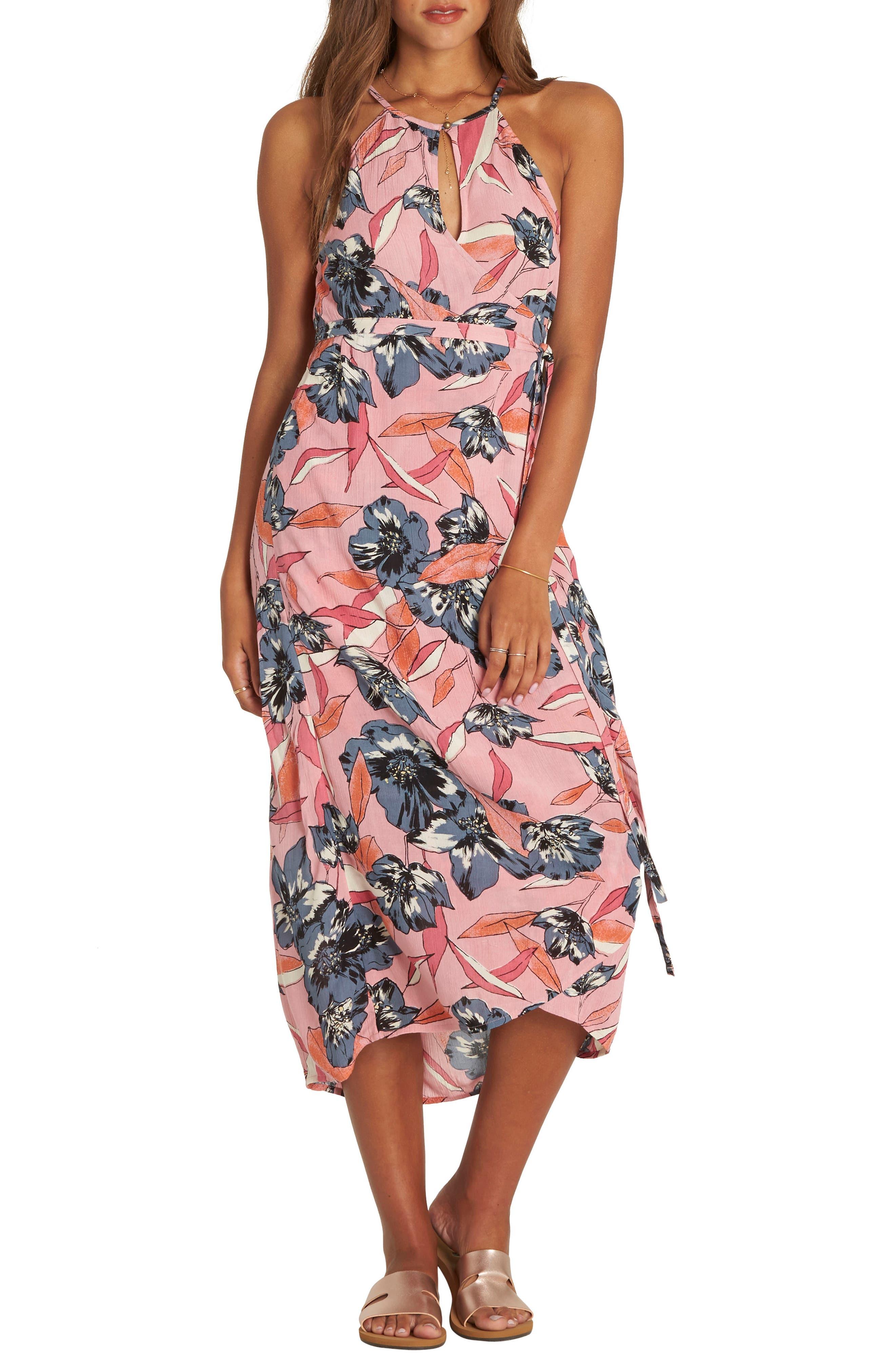 Aloha Babe Midi Wrap Dress,                         Main,                         color, 650