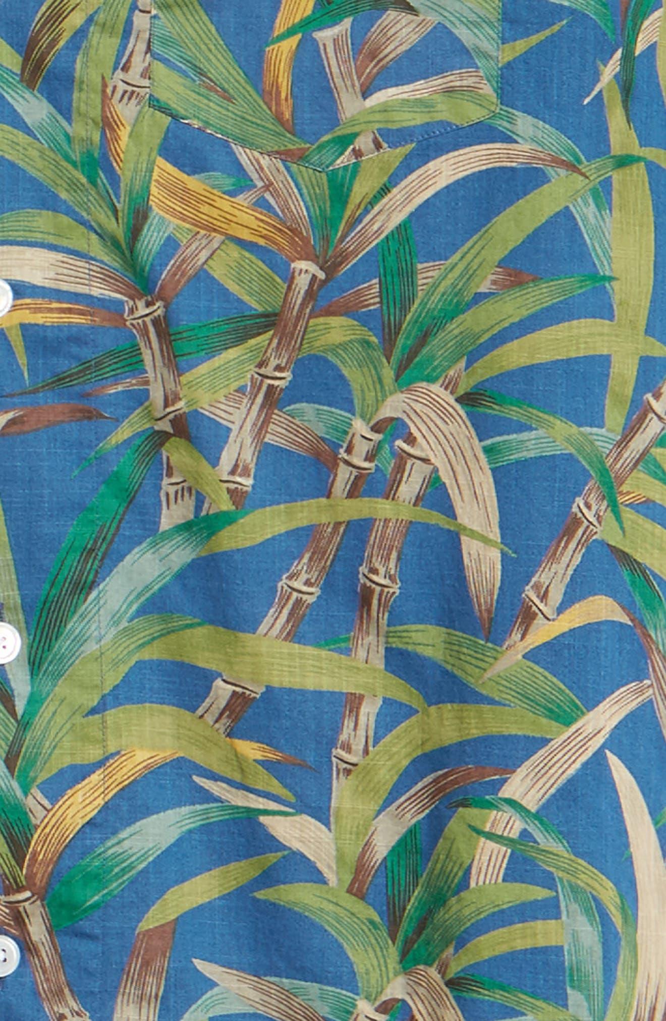 Regular Fit Leaf Print Slub Cotton Sport Shirt,                             Alternate thumbnail 6, color,                             500