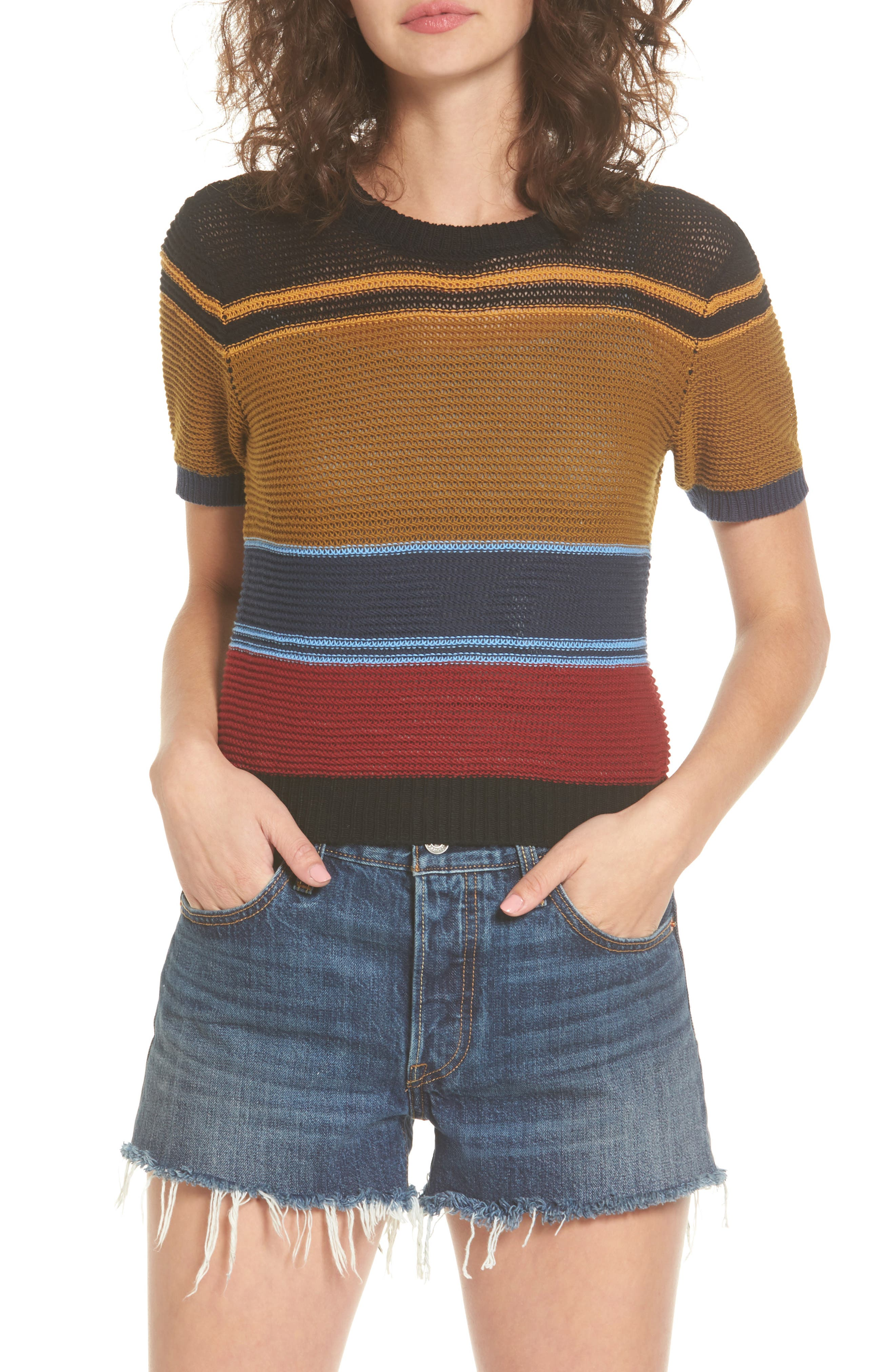 Brightside Stripe Knit Sweater,                             Main thumbnail 1, color,                             001