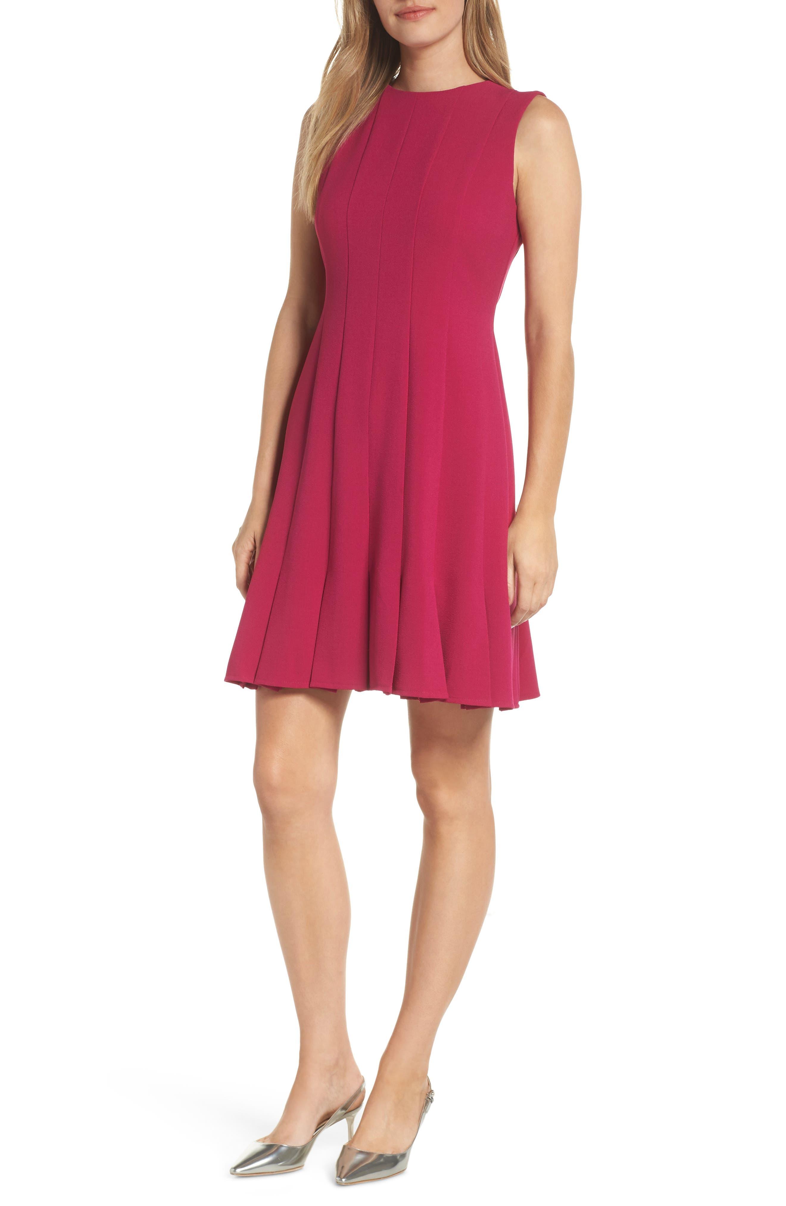 Sleeveless Pleat Panel Fit & Flare Dress,                         Main,                         color, FUCHSIA