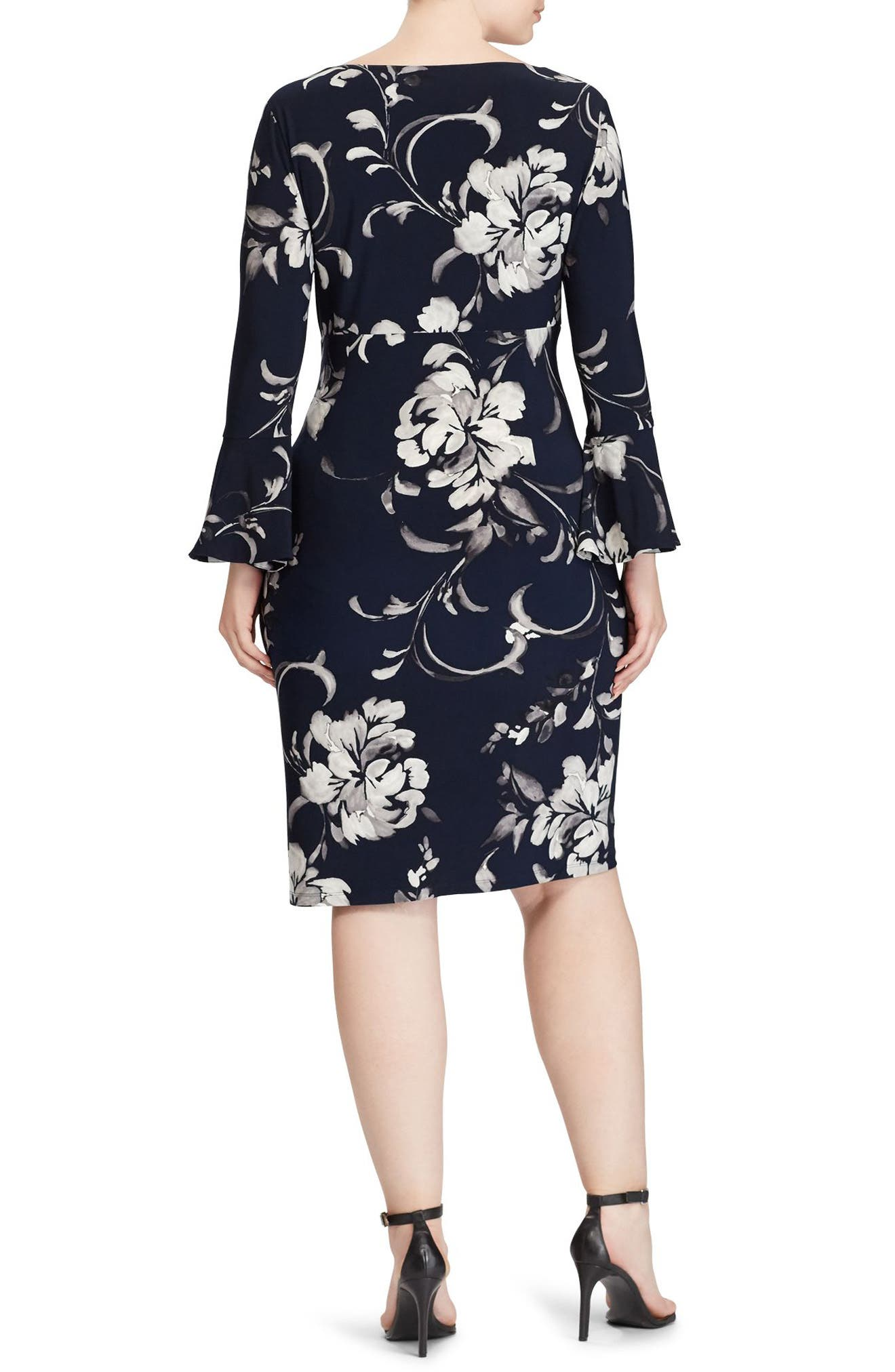 Floral Bell Sleeve Jersey Dress,                             Alternate thumbnail 2, color,                             410