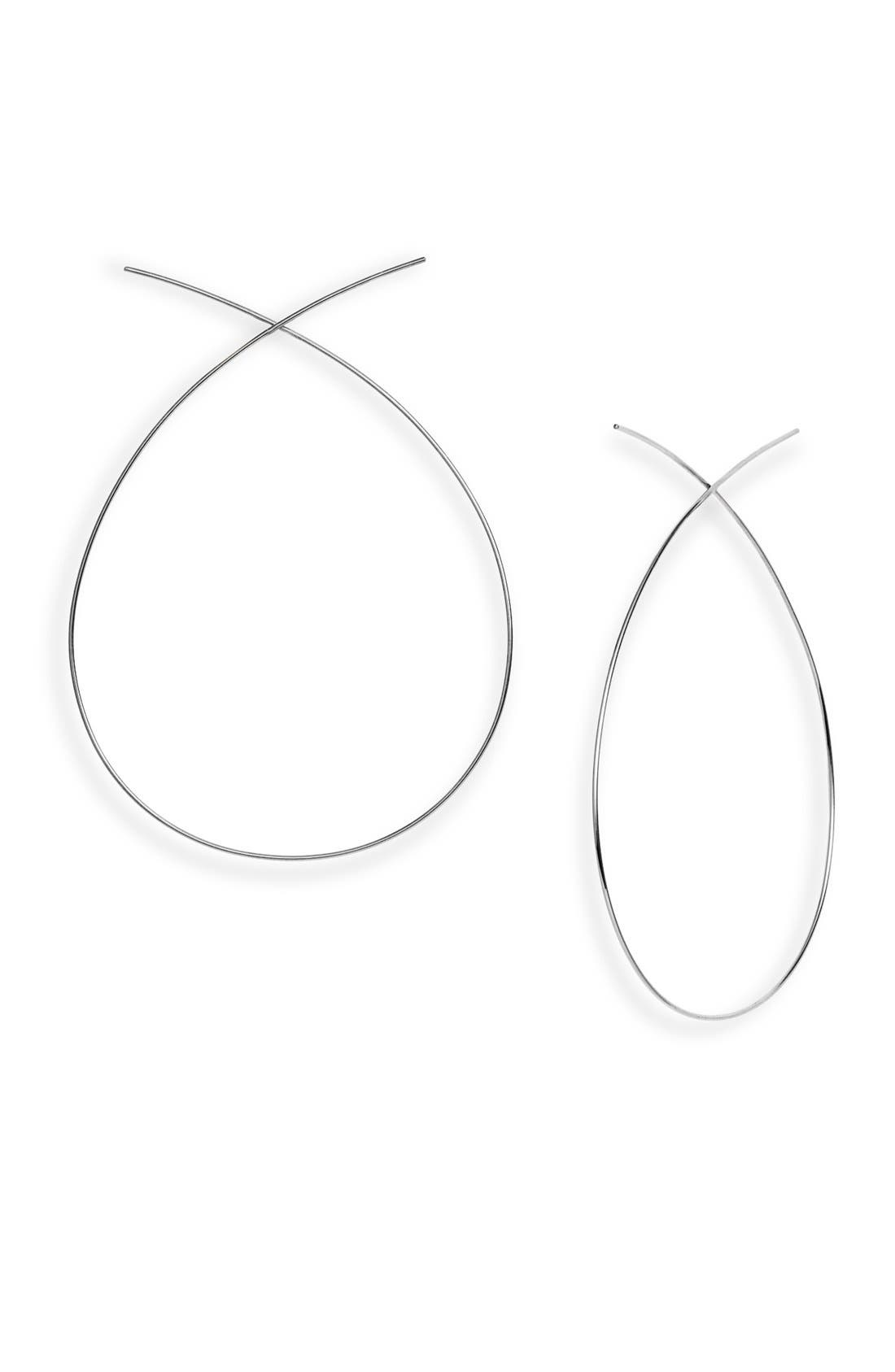 'Large Upside Down' Hoop Earrings,                         Main,                         color, WHITE GOLD