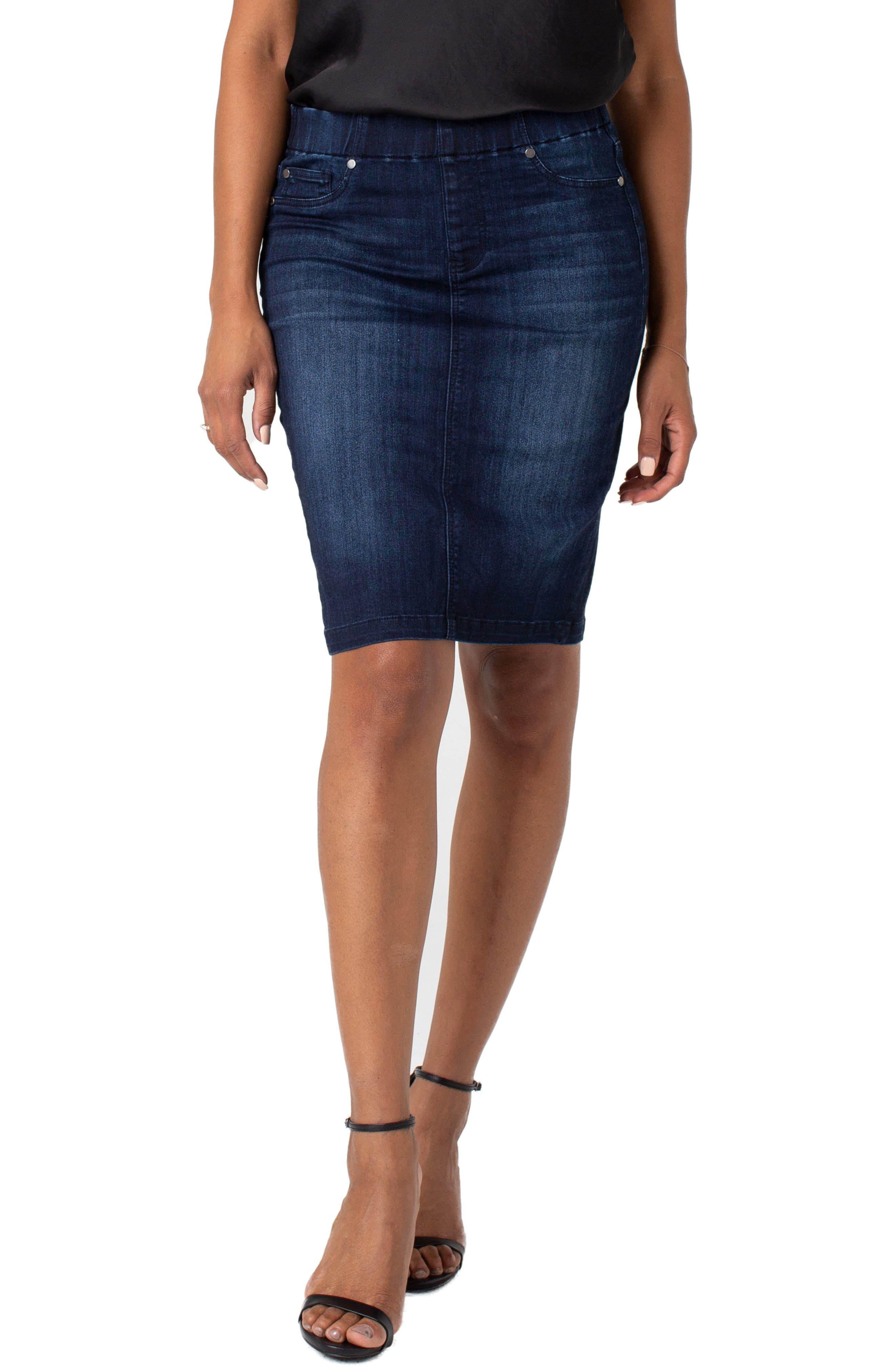 Liverpool Chloe Denim Pencil Skirt, Blue