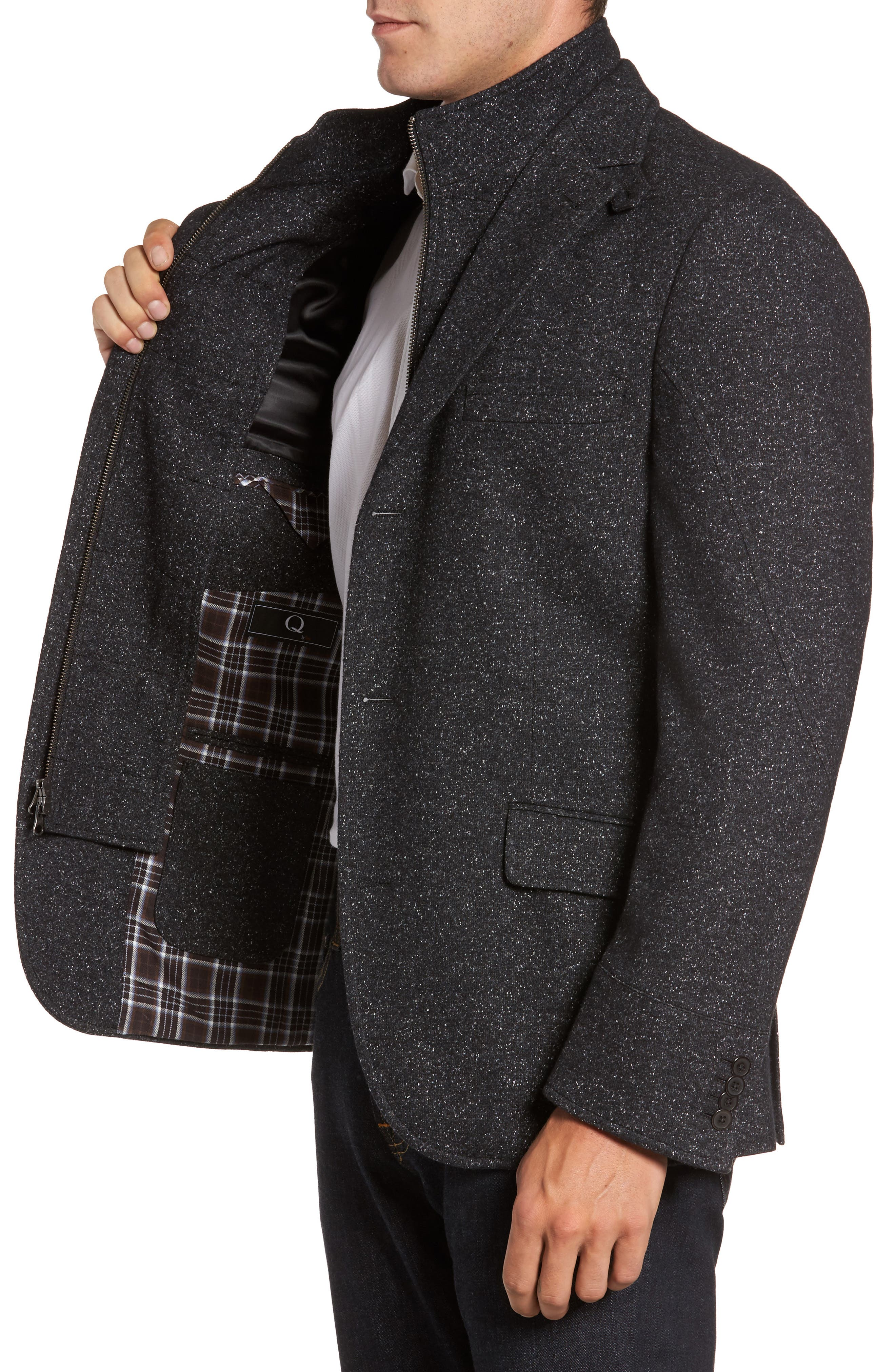 Donegal Wool Blend Hybrid Coat,                             Alternate thumbnail 3, color,                             021
