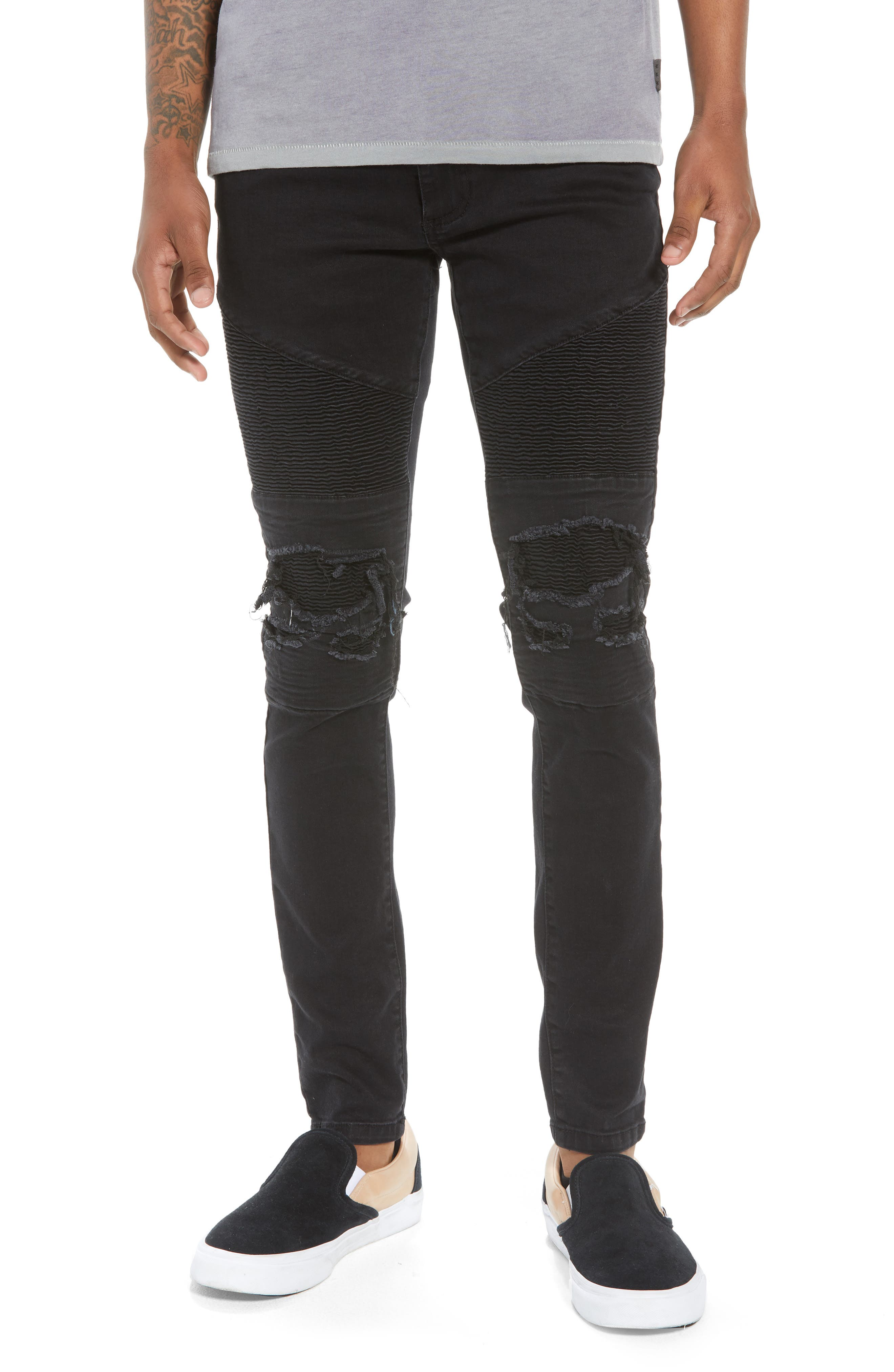 Combination Moto Skinny Moto Jeans,                             Main thumbnail 1, color,                             BLACK