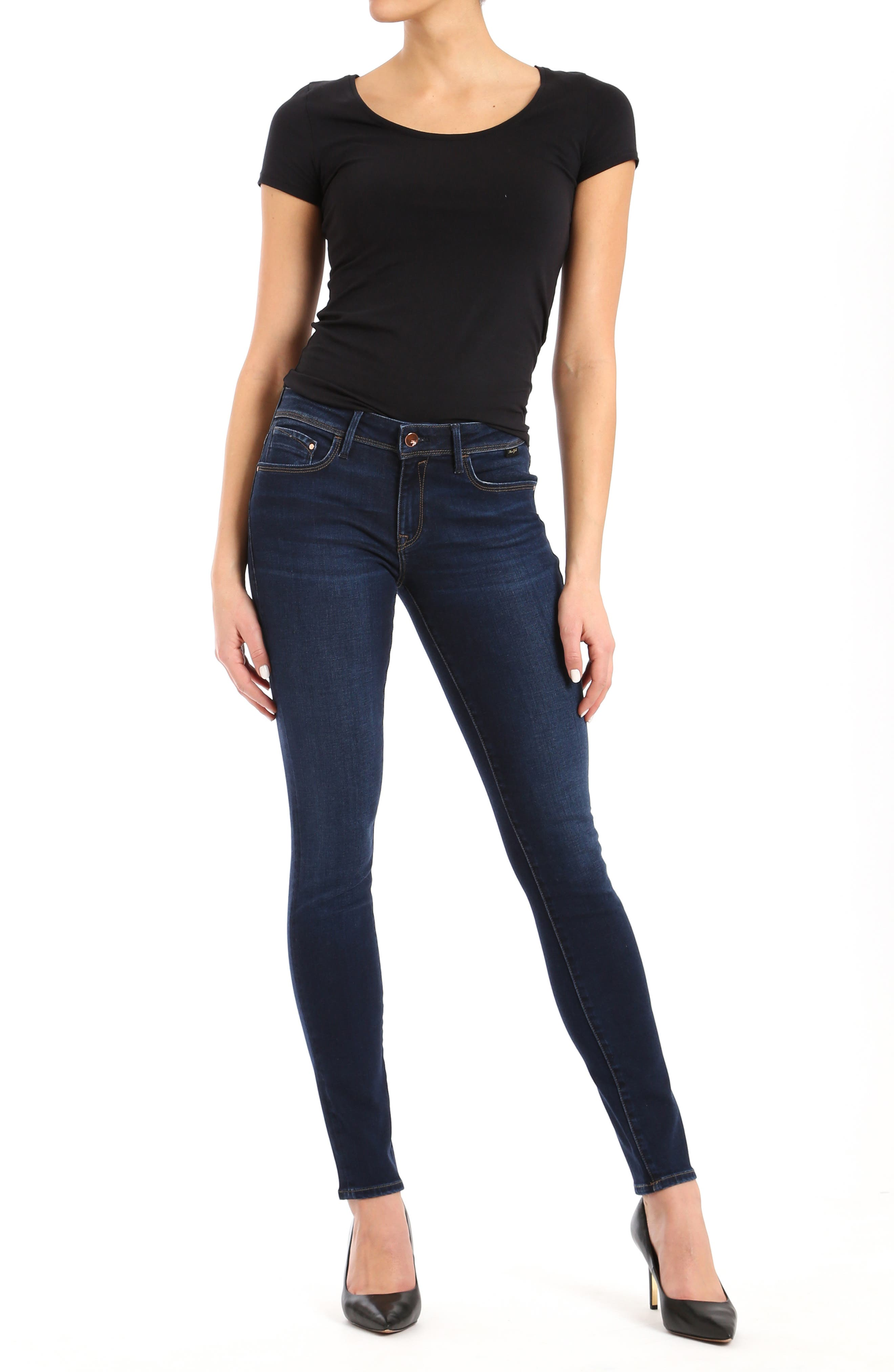 Alexa Skinny Jeans,                             Alternate thumbnail 4, color,                             DEEP SOFT GOLD LUX MOVE