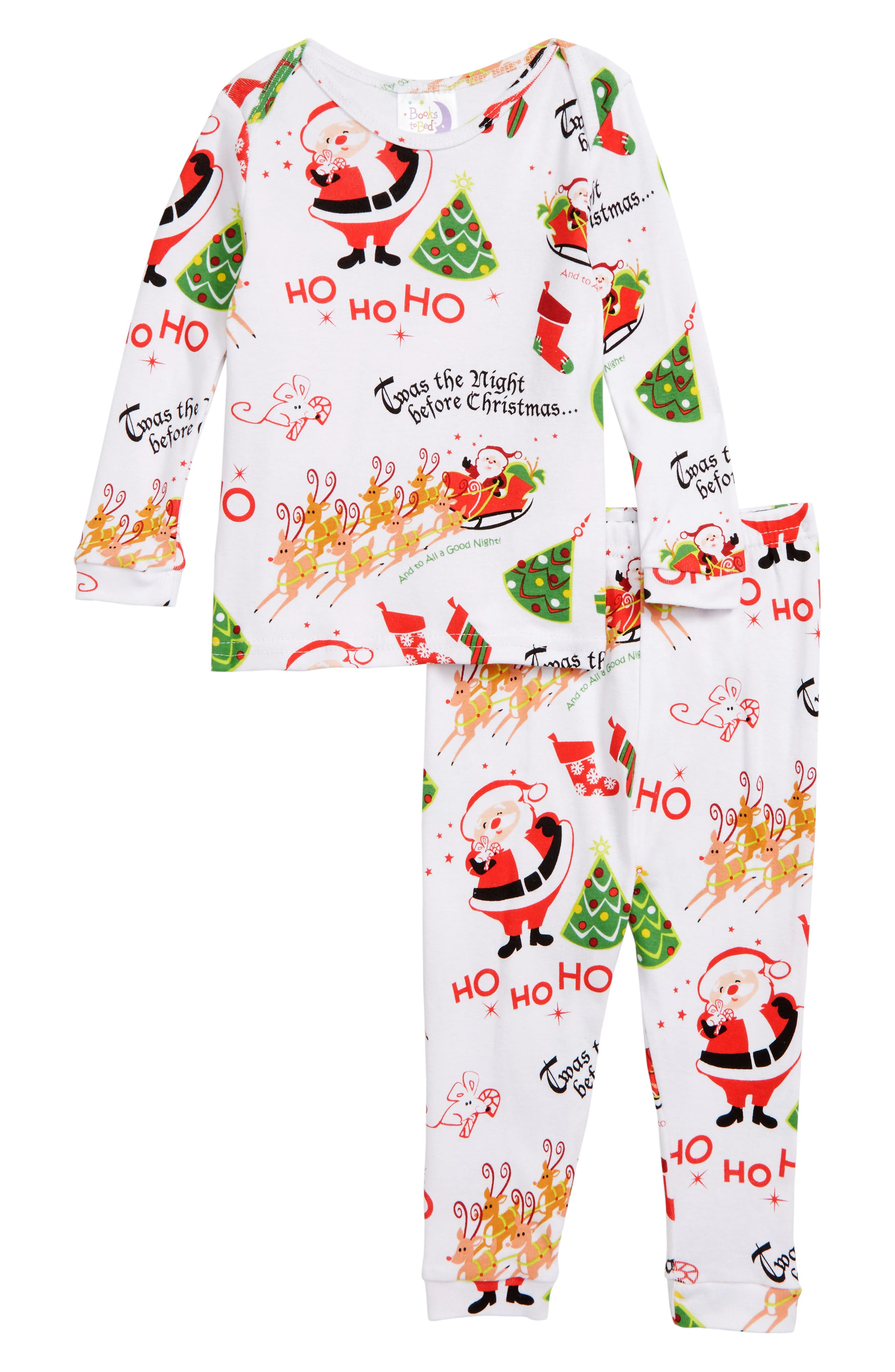 'Twas the Night Before Christmas Fitted Two-Piece Pajamas & Book Set,                             Main thumbnail 1, color,                             WHITE