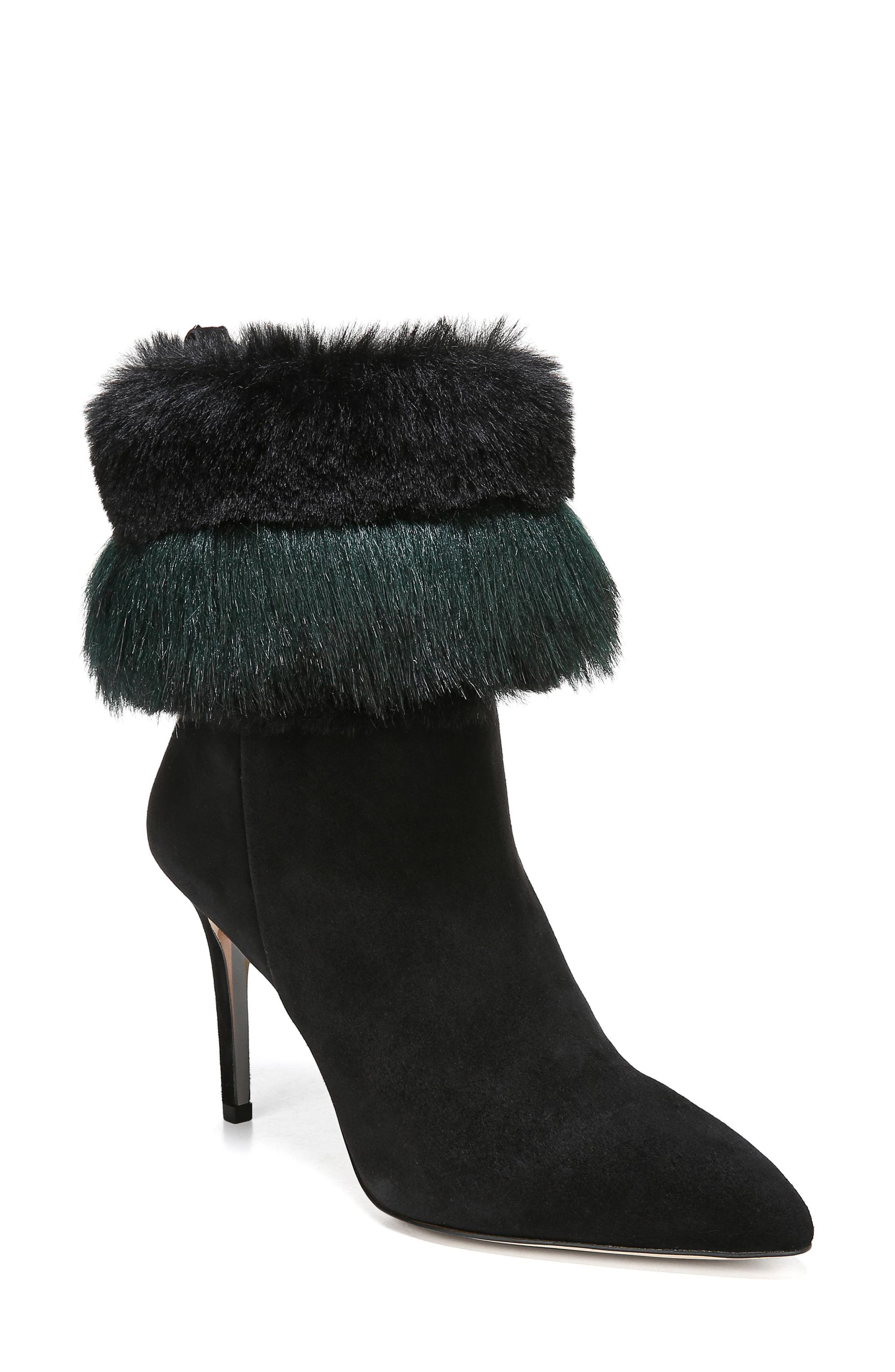 Sam Edelman Oleana Faux Fur Trim Bootie- Black