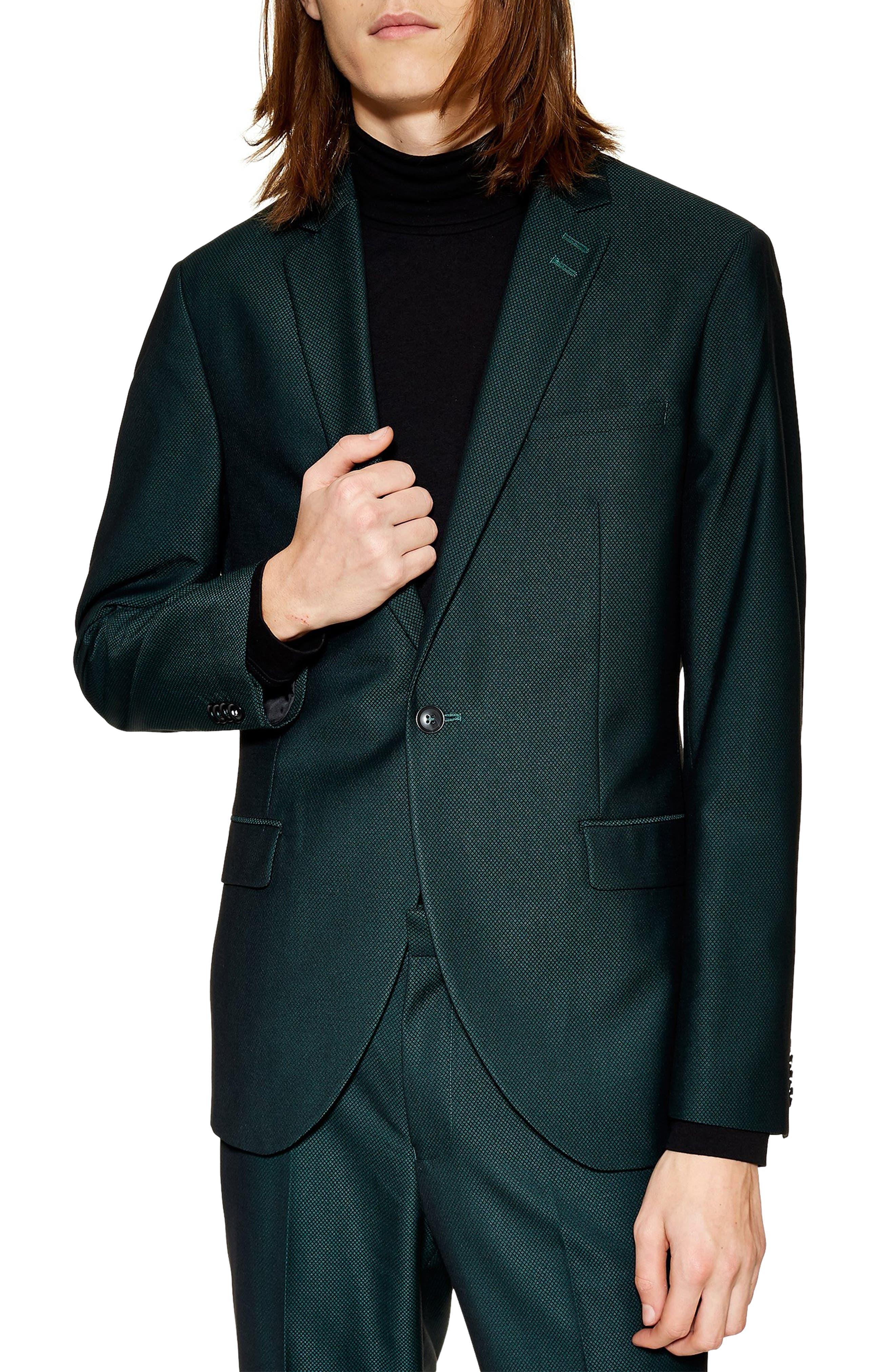 TOPMAN Banbury Slim Fit Suit Jacket in Green