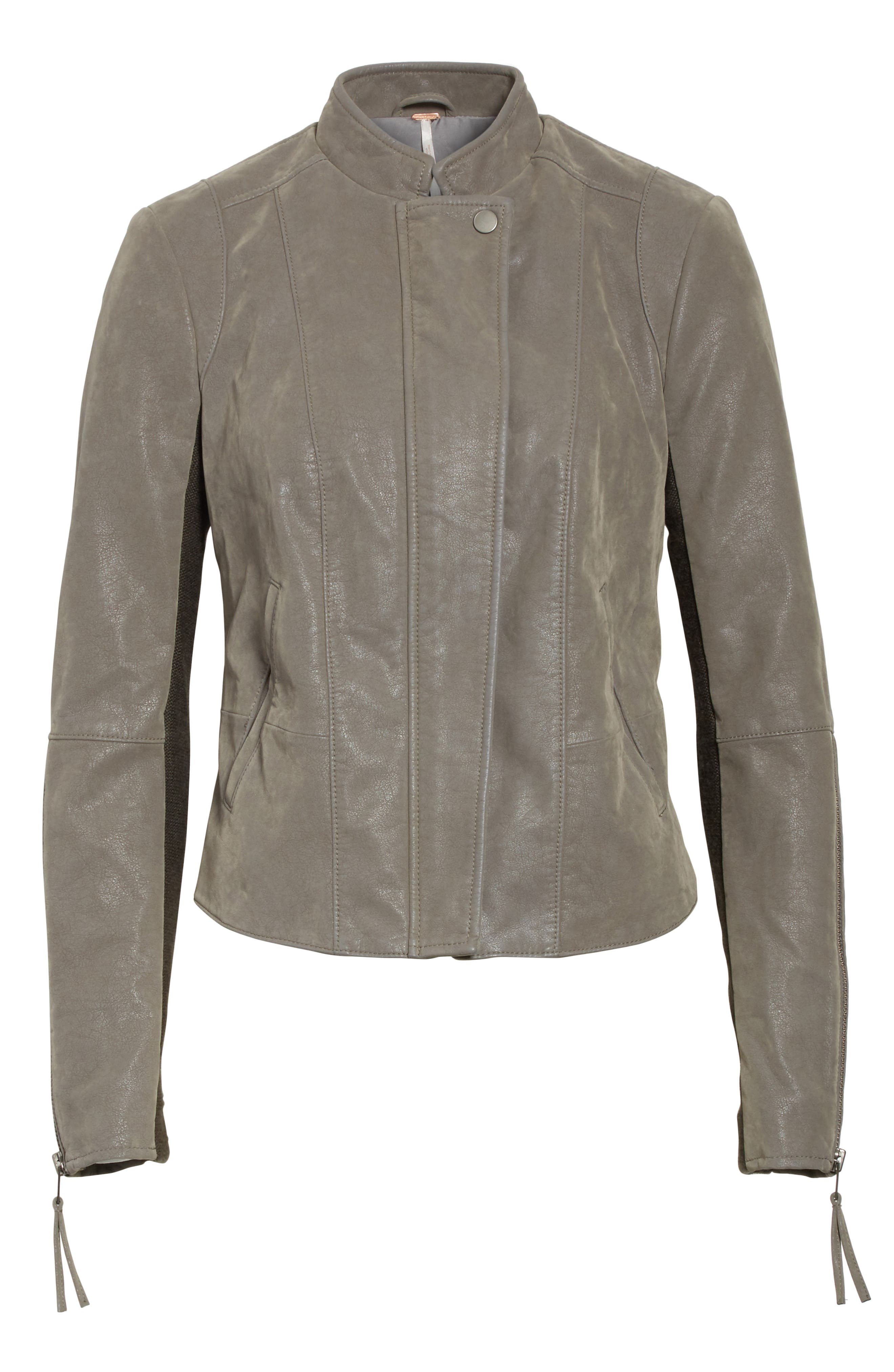 Faux Leather Jacket,                             Alternate thumbnail 5, color,                             035