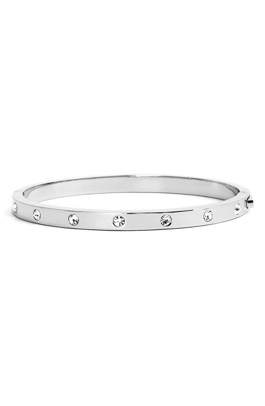 KATE SPADE NEW YORK,                             crystal hinge bangle,                             Main thumbnail 1, color,                             SILVER