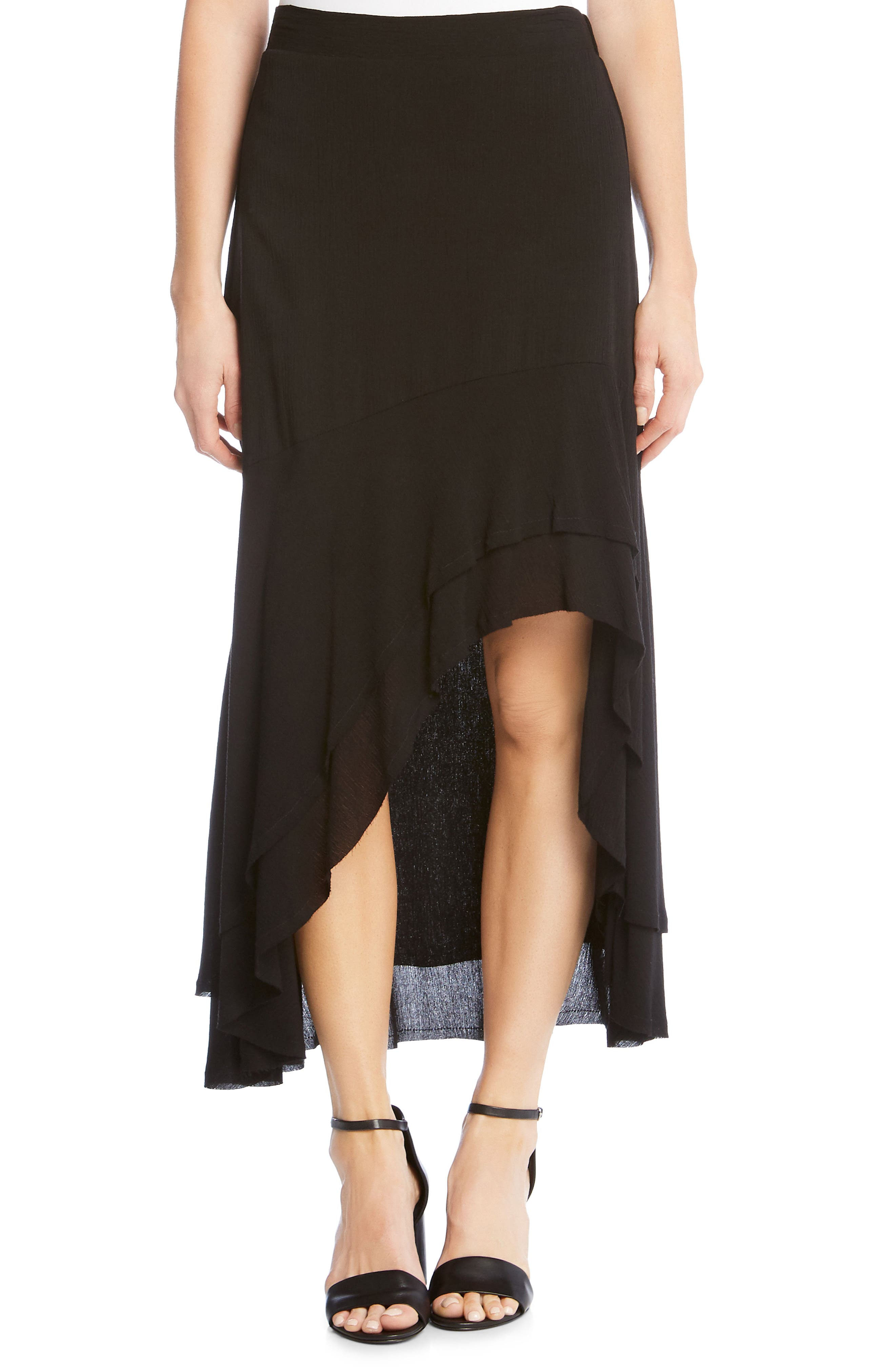 Asymmetrical Raw Edge Ruffle Skirt,                             Main thumbnail 1, color,                             001