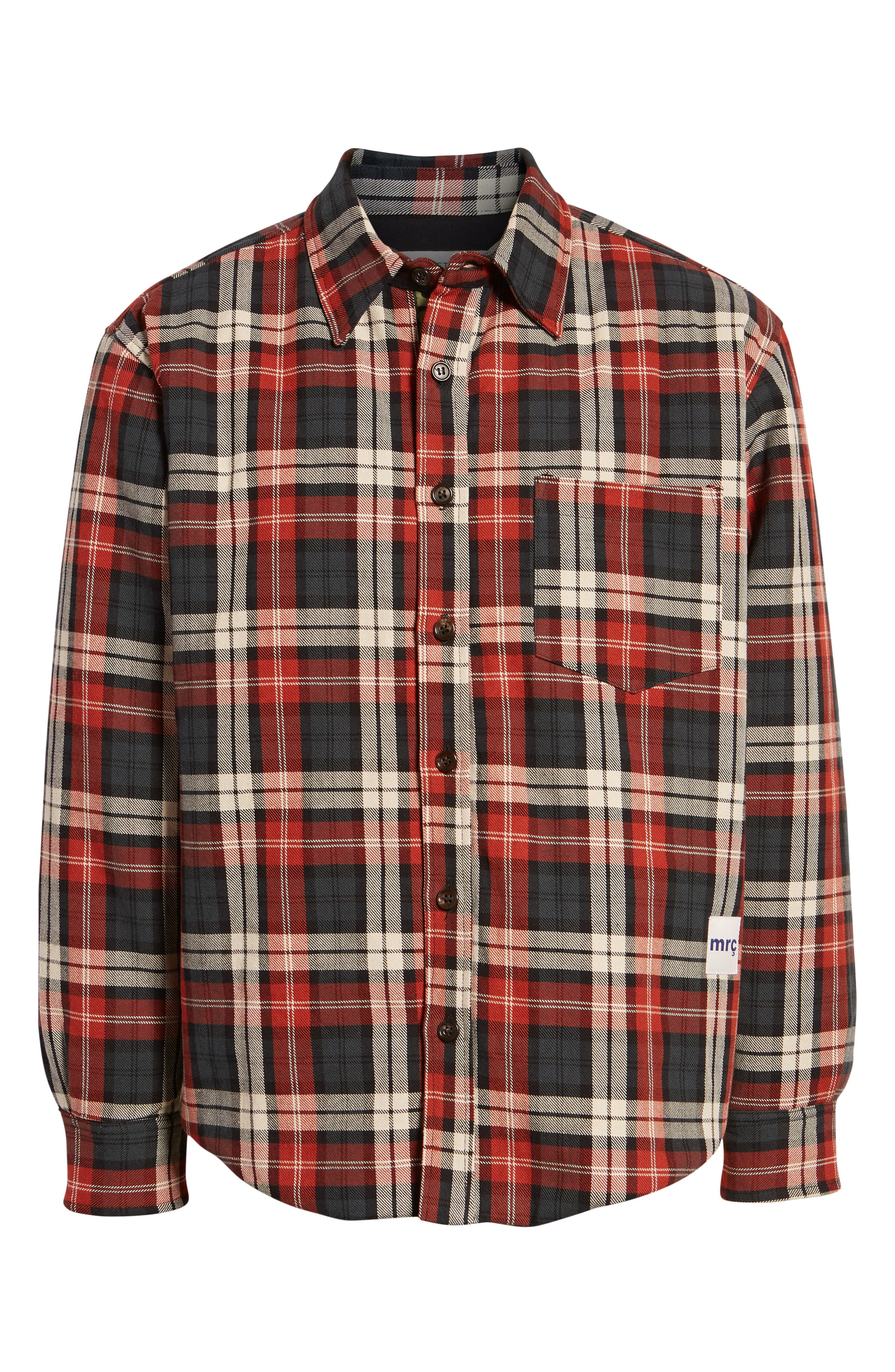 Puffy Classic Fit Work Shirt,                             Alternate thumbnail 5, color,                             RED PLAID