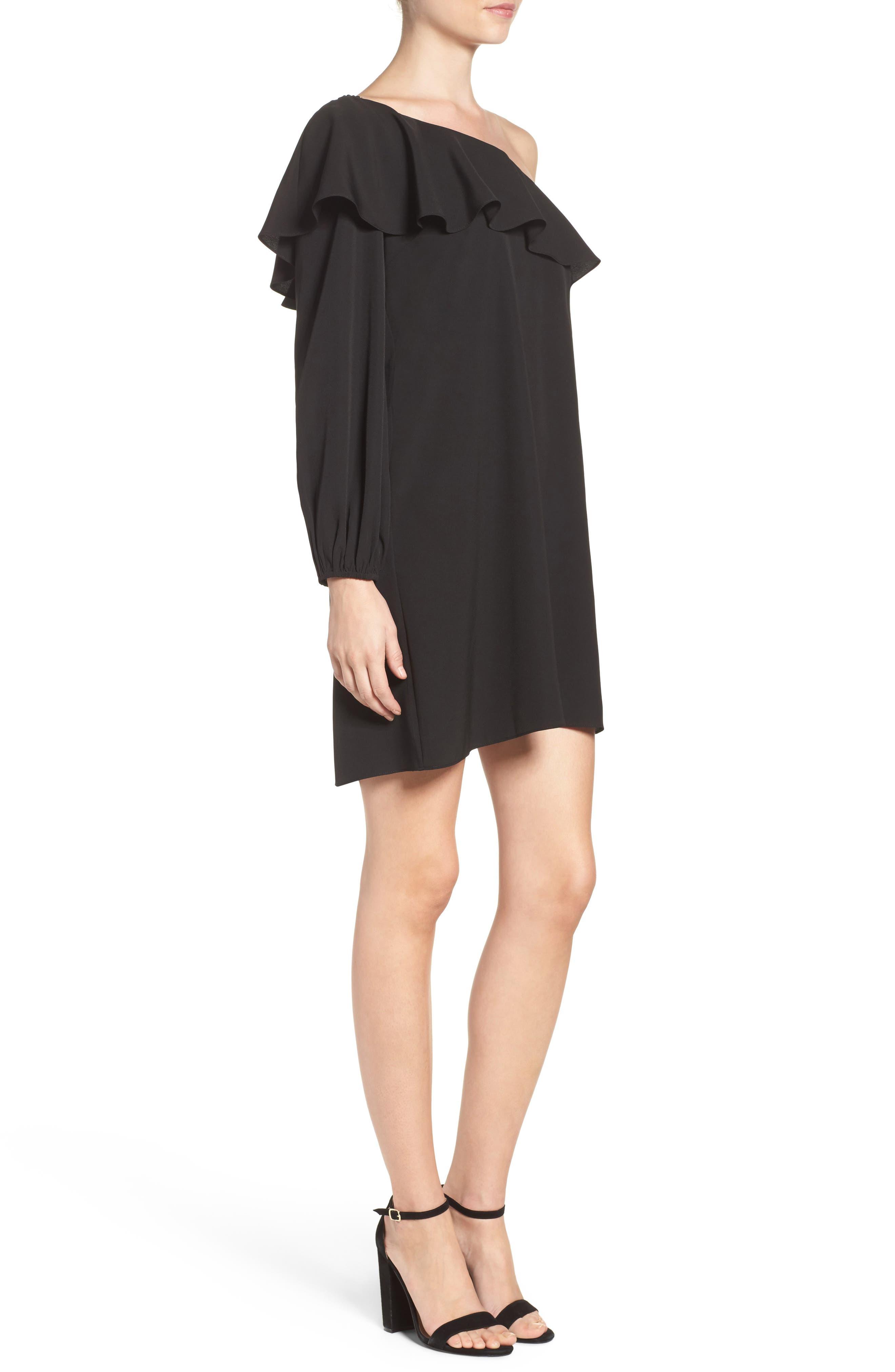 A BY AMANDA,                             Luella One-Shoulder Dress,                             Alternate thumbnail 3, color,                             001