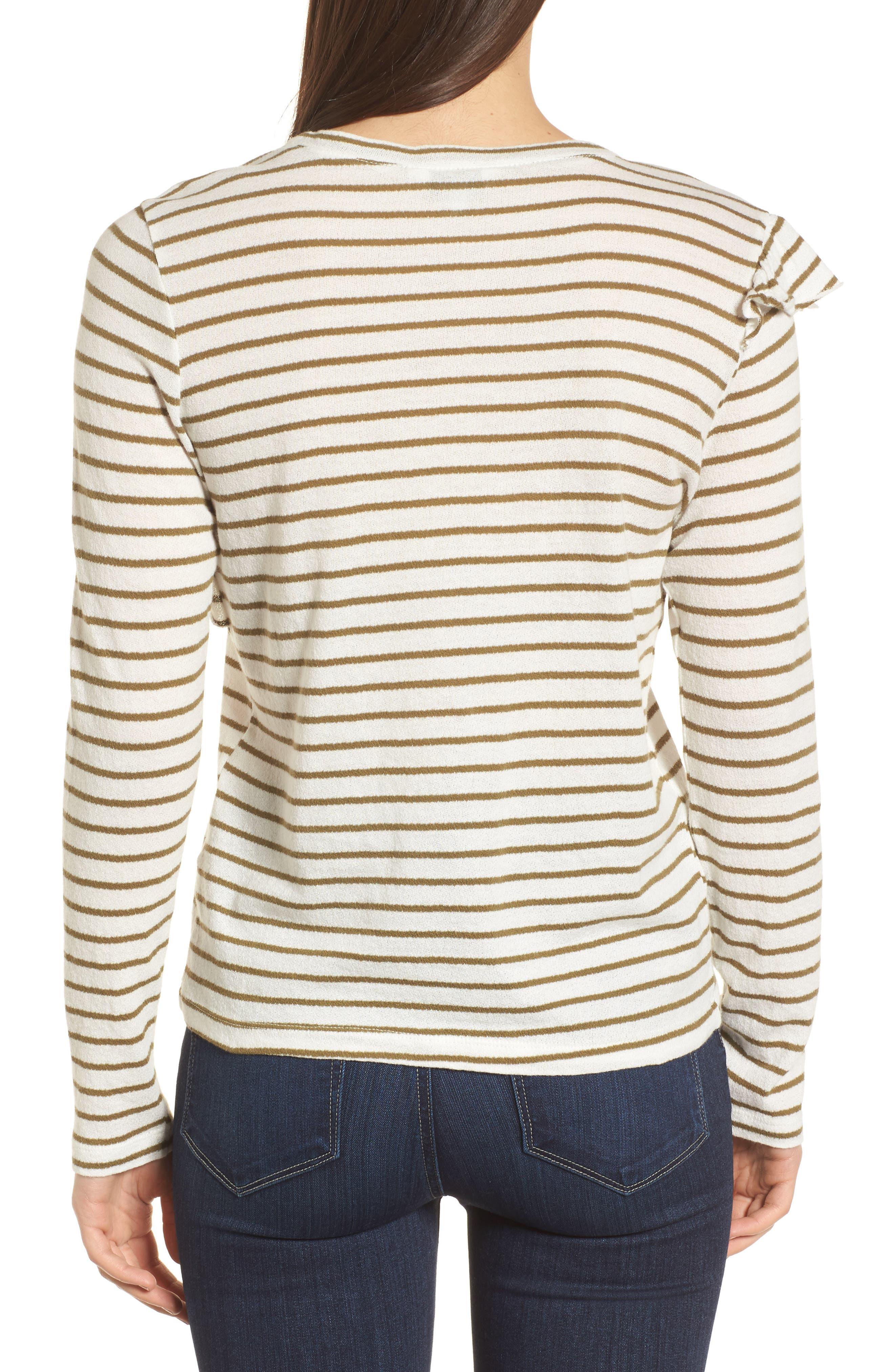 Stripe Asymmetrical Ruffle Top,                             Alternate thumbnail 2, color,                             310