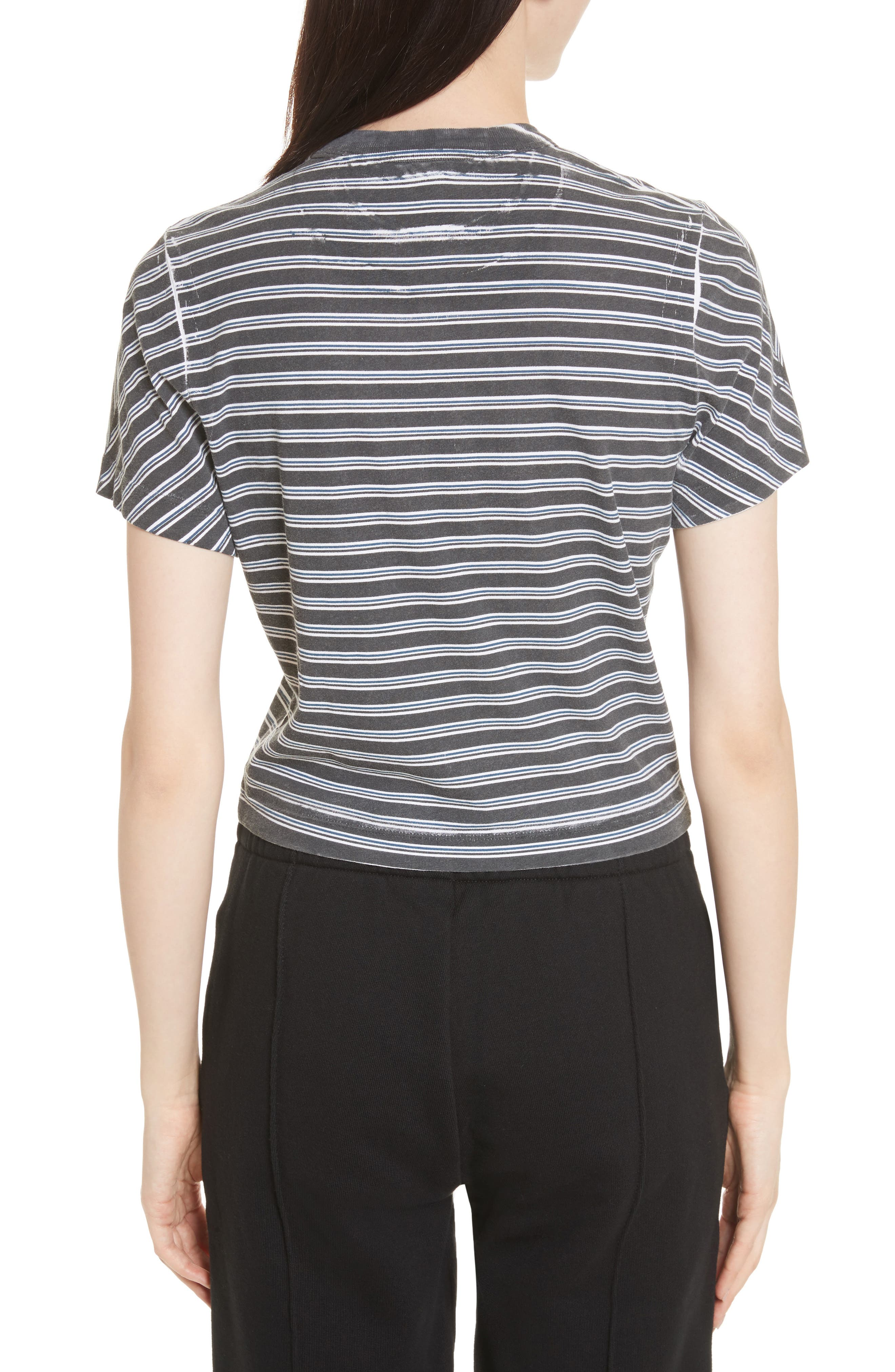 Ruched Stripe Cotton Tee,                             Alternate thumbnail 2, color,