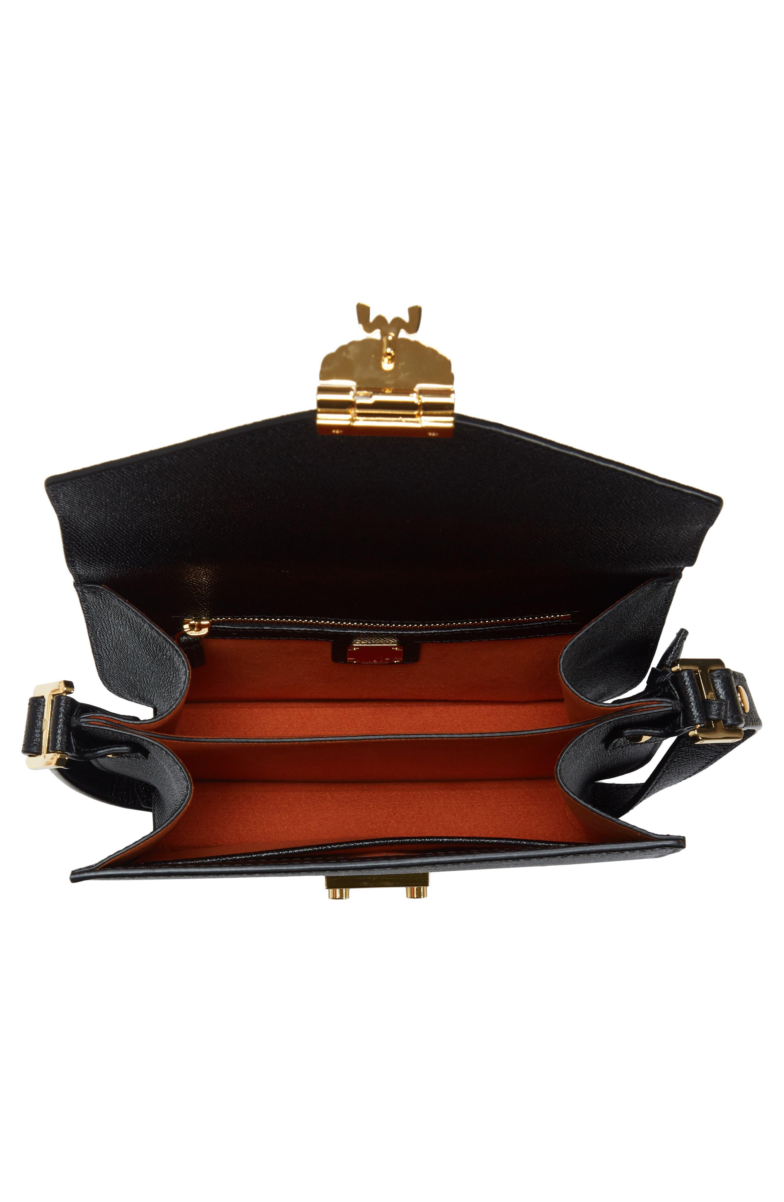 Small RGB Leather Shoulder Bag,                             Alternate thumbnail 4, color,                             BLACK