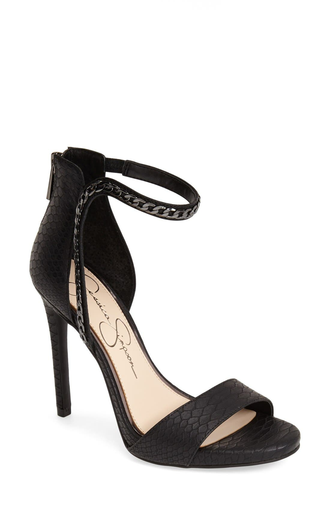 JESSICA SIMPSON,                             'Redith' Chain Embellished Sandal,                             Main thumbnail 1, color,                             001
