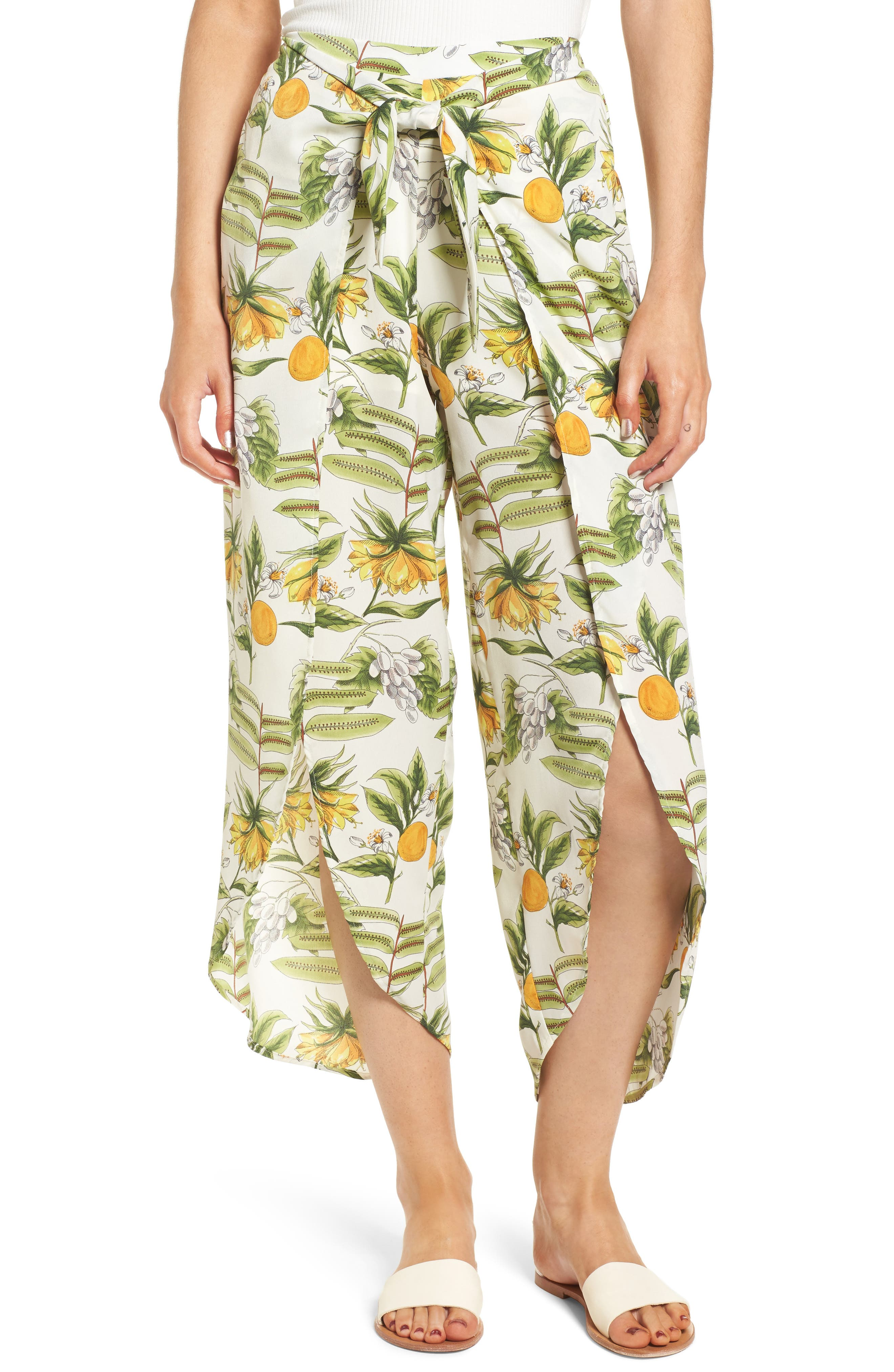 Limonada Citrus Print Split Culottes,                         Main,                         color, 901