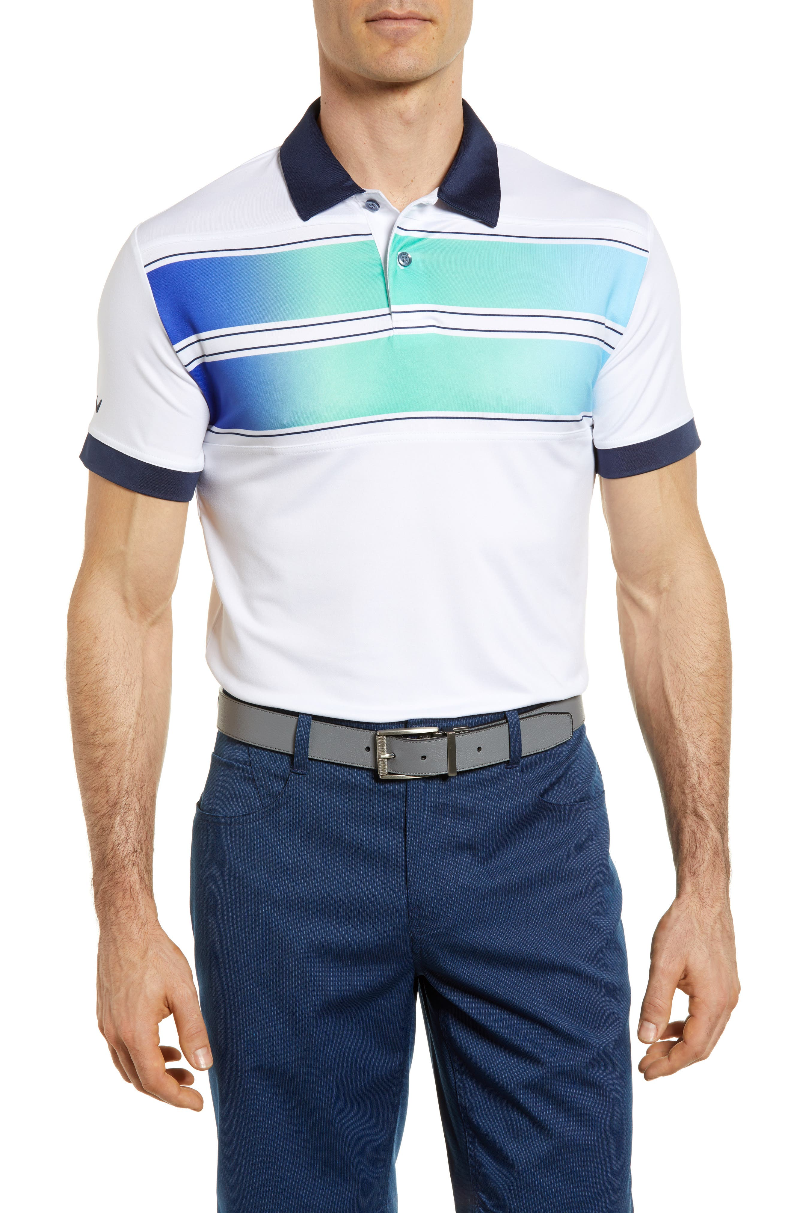 Slim Fit Double Chest Polo,                         Main,                         color, BRIGHT WHITE