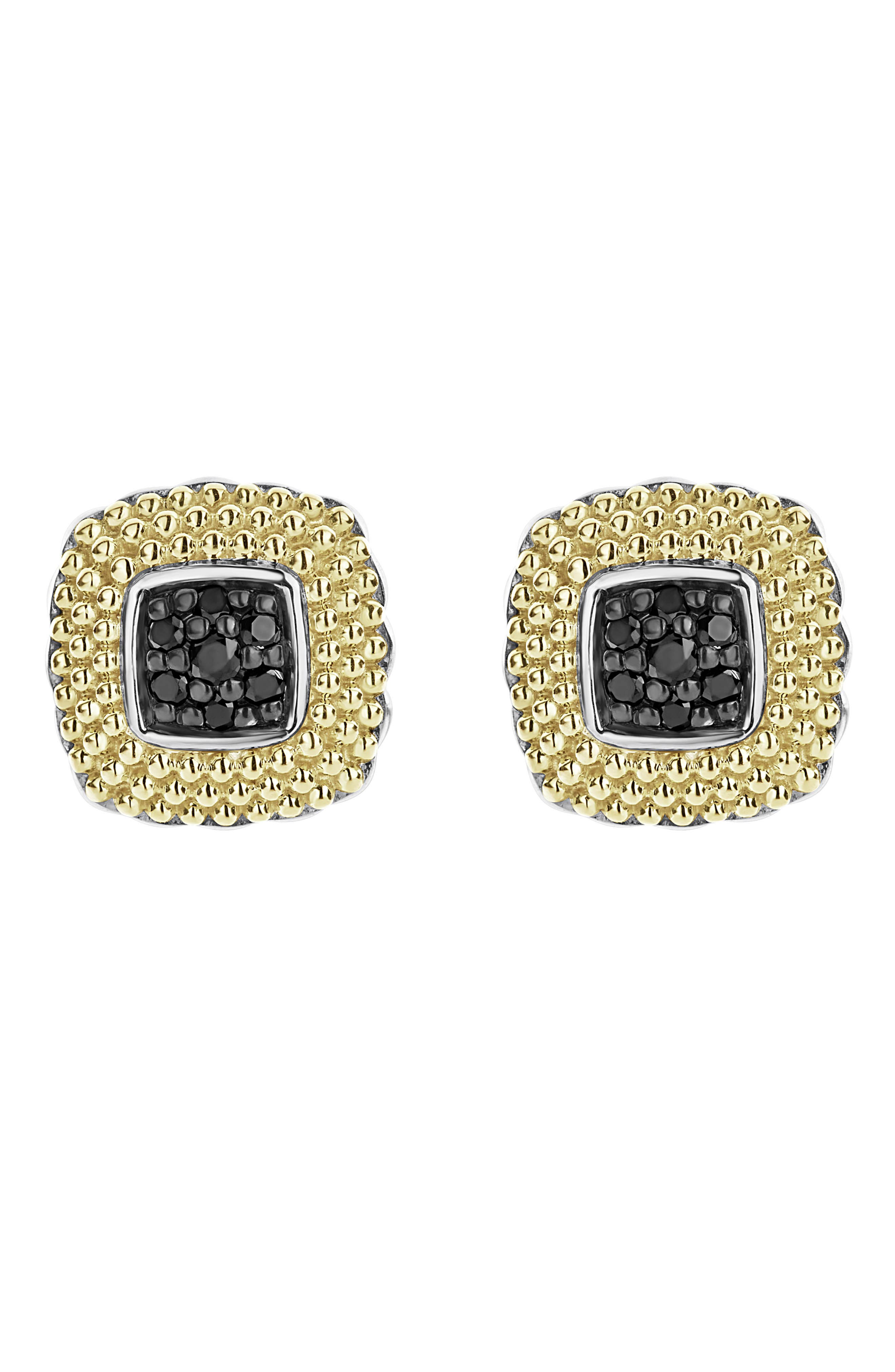 Diamond Lux Black Diamond Square Stud Earrings,                             Main thumbnail 1, color,                             SILVER/ GOLD/ BLACK DIAMOND