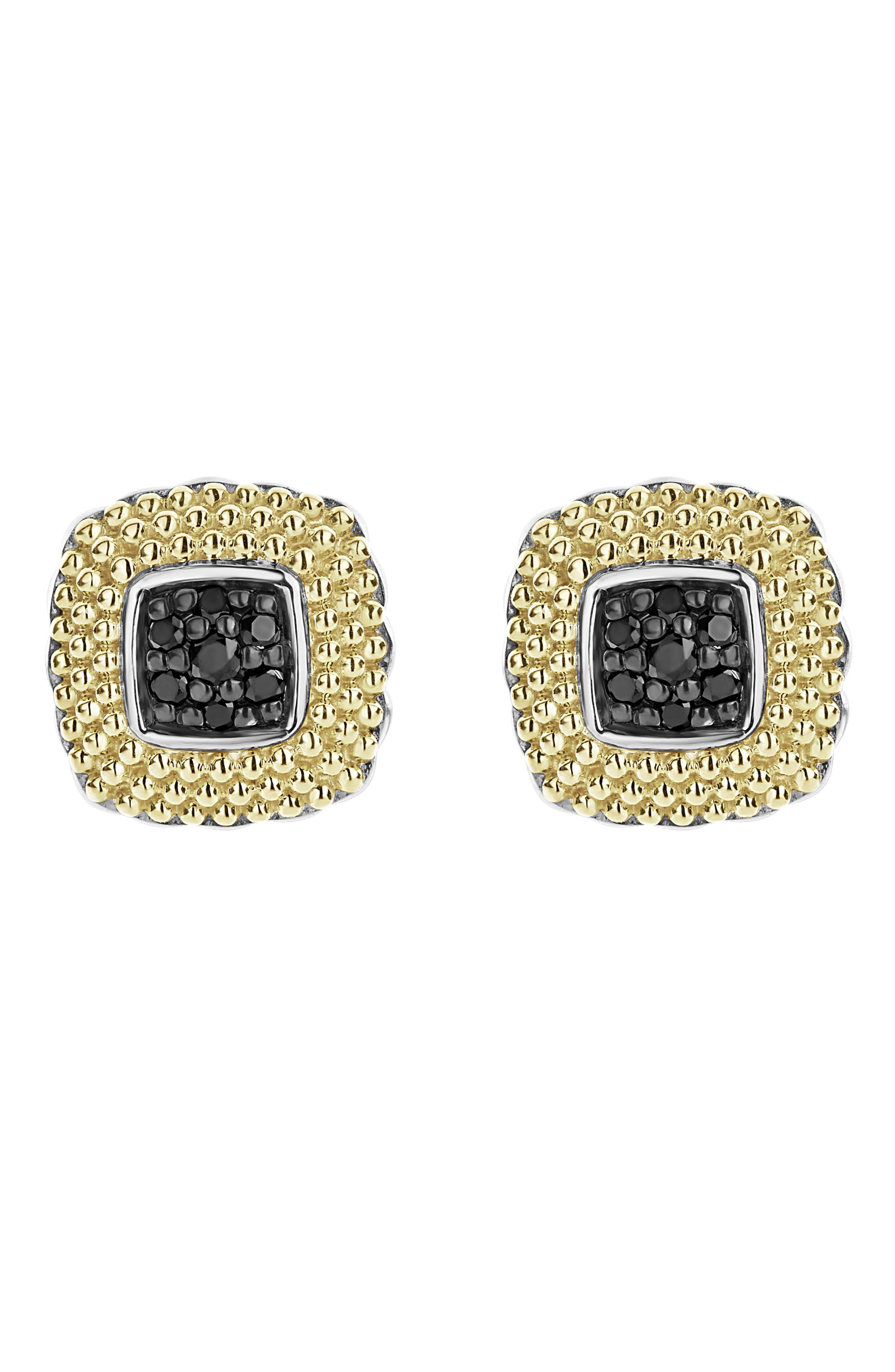 Diamond Lux Black Diamond Square Stud Earrings in Silver/ Gold/ Black Diamond
