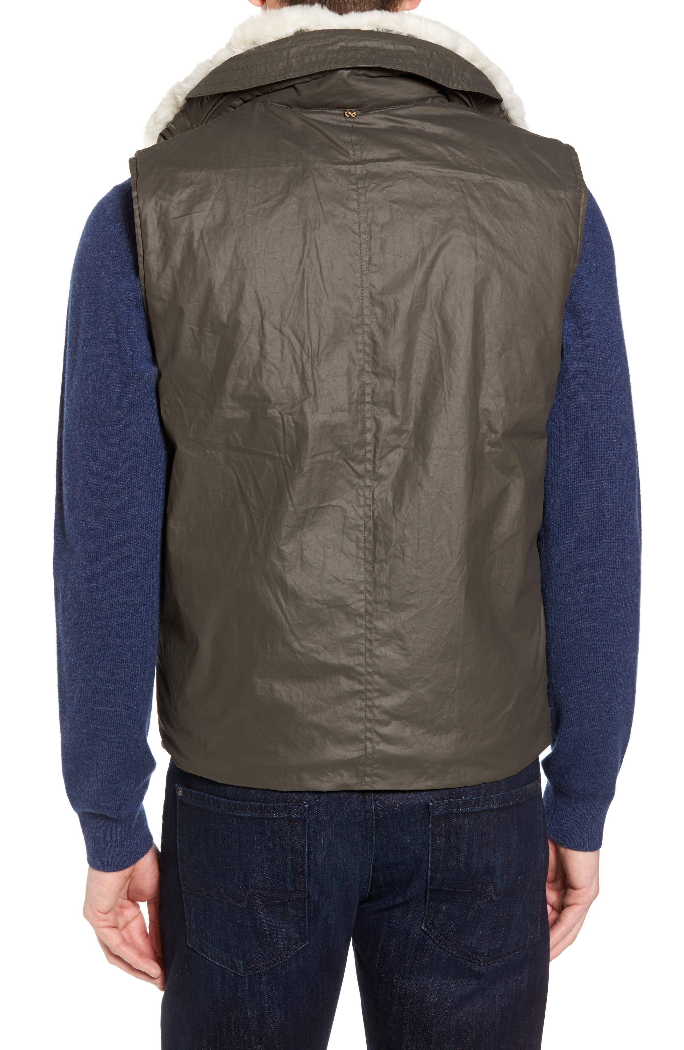 Water-Resistant Genuine Rabbit Fur Lined Vest,                             Alternate thumbnail 2, color,
