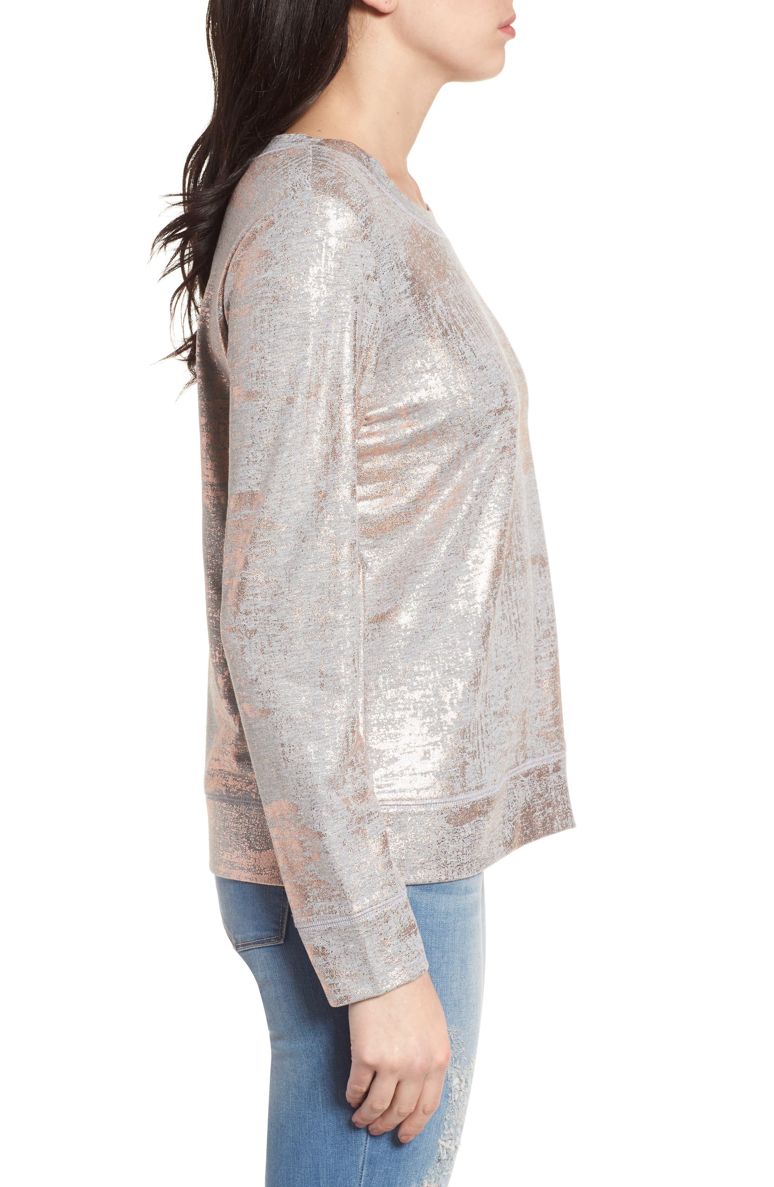 Foiled Sweatshirt,                             Alternate thumbnail 3, color,                             020